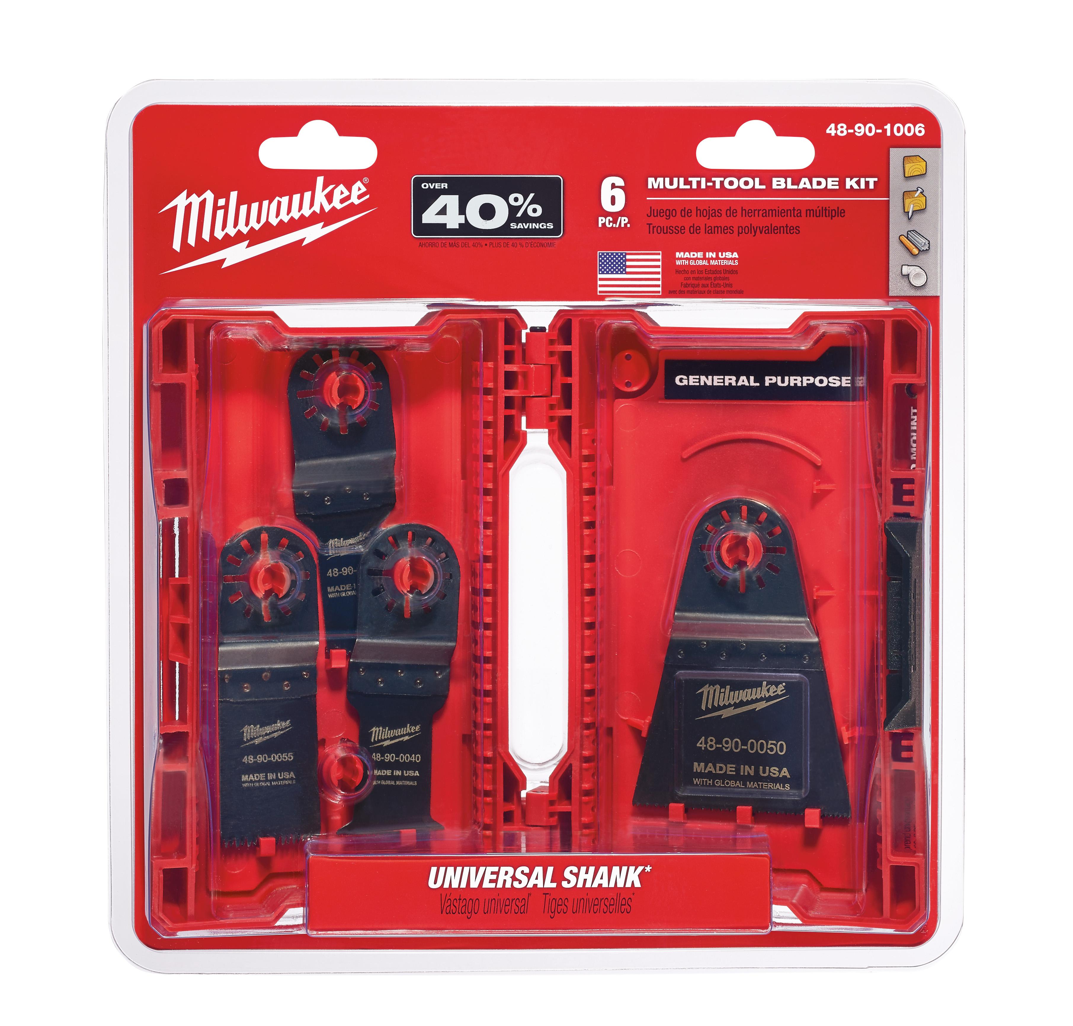 Milwaukee® 48-90-1006 Multi-Tool Blade Kit With Universal Shank, For Use With Milwaukee®, Bosch® (Non-Starlock™), SKIL®, Makita®, Craftsman®, Fein® (Non-Starlock™), Ridgid®, AEG®, Ozito® and Ryobi® Professional Grade Oscillating Multi-Tool