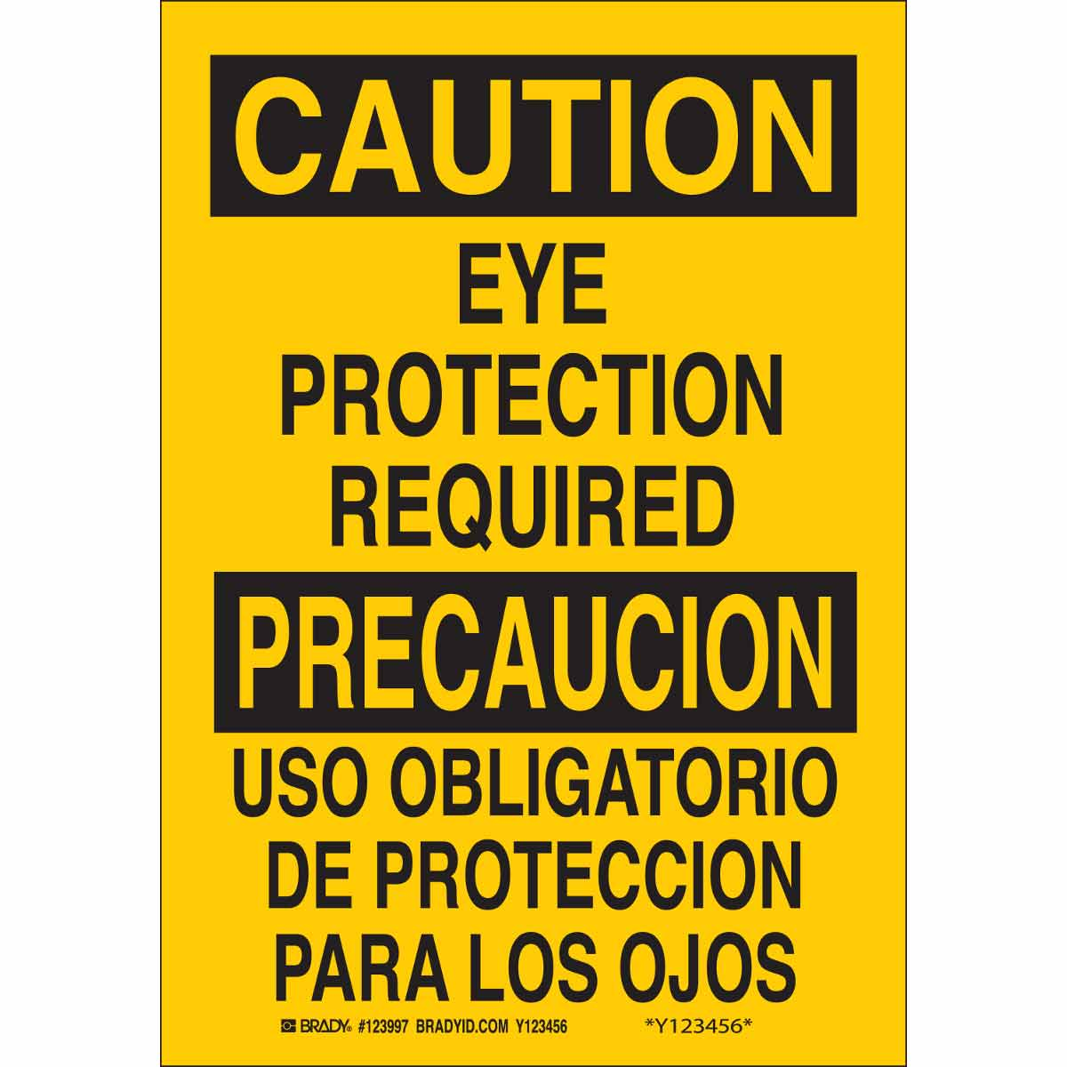 Brady® 122782 Rectangle Safety Sign, CAUTION, 10 in H x 14 in W, Black on Yellow, B-120 Premium Fiberglass, Surface Mounting