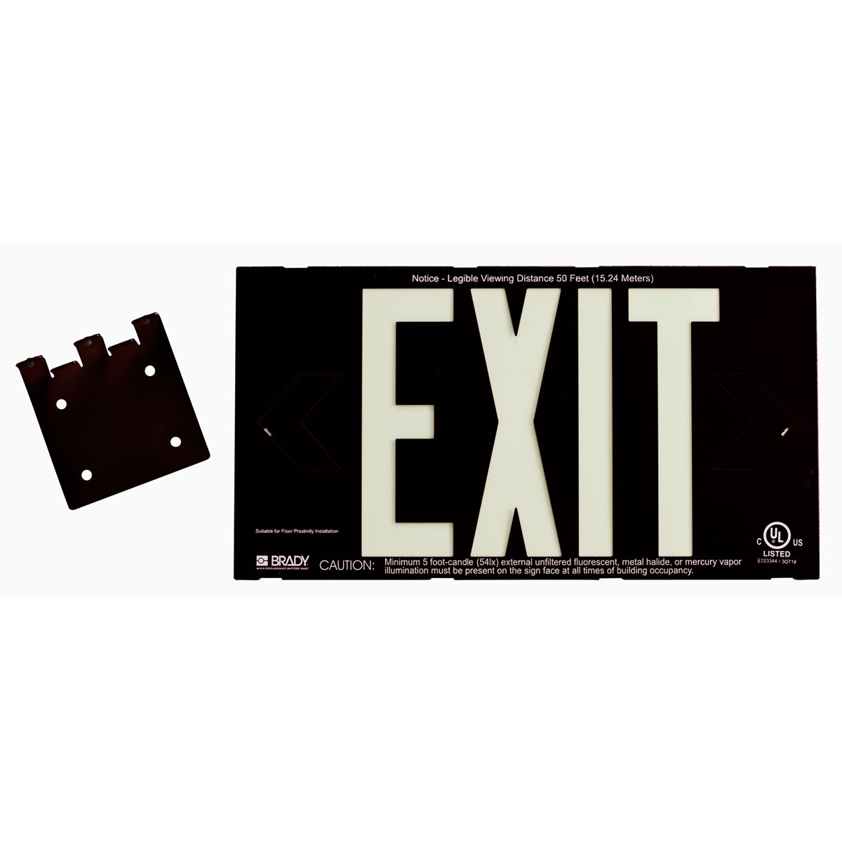 Brady® 38098B Rectangle Exit Sign, No Header, 8-1/4 in H x 15-1/4 in W, White on Black, B-355 Glow-In-The-Dark Plastic, Bracket Mounting