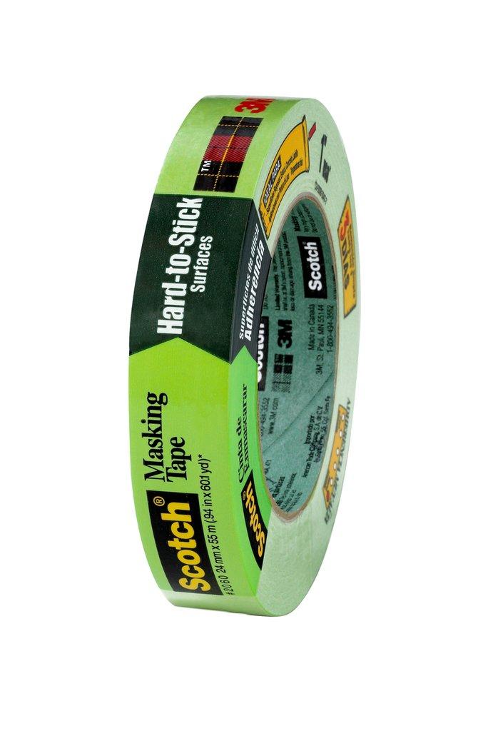 3M™ 2060-2A-24mmx55m Masking Tape, 55 m L x 24 mm W, 0.006 in THK, Rubber Adhesive, Crepe Paper Backing
