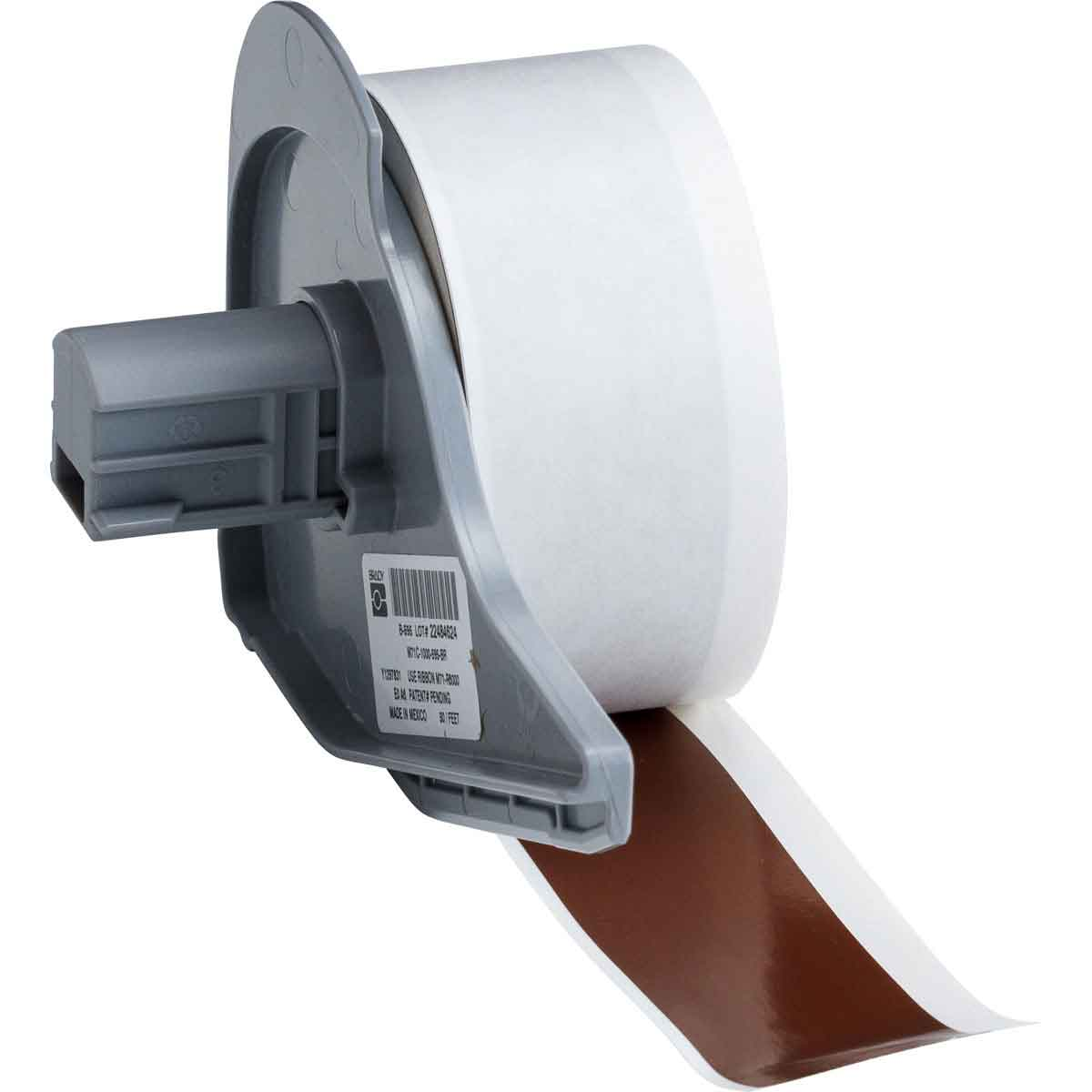Brady® M71C-1000-595-BR Blank Thermal Transfer Tape, 50 ft L x 1 in W, Brown, B-595 Vinyl, Permanent Acrylic Adhesive, -40 to 180 deg F