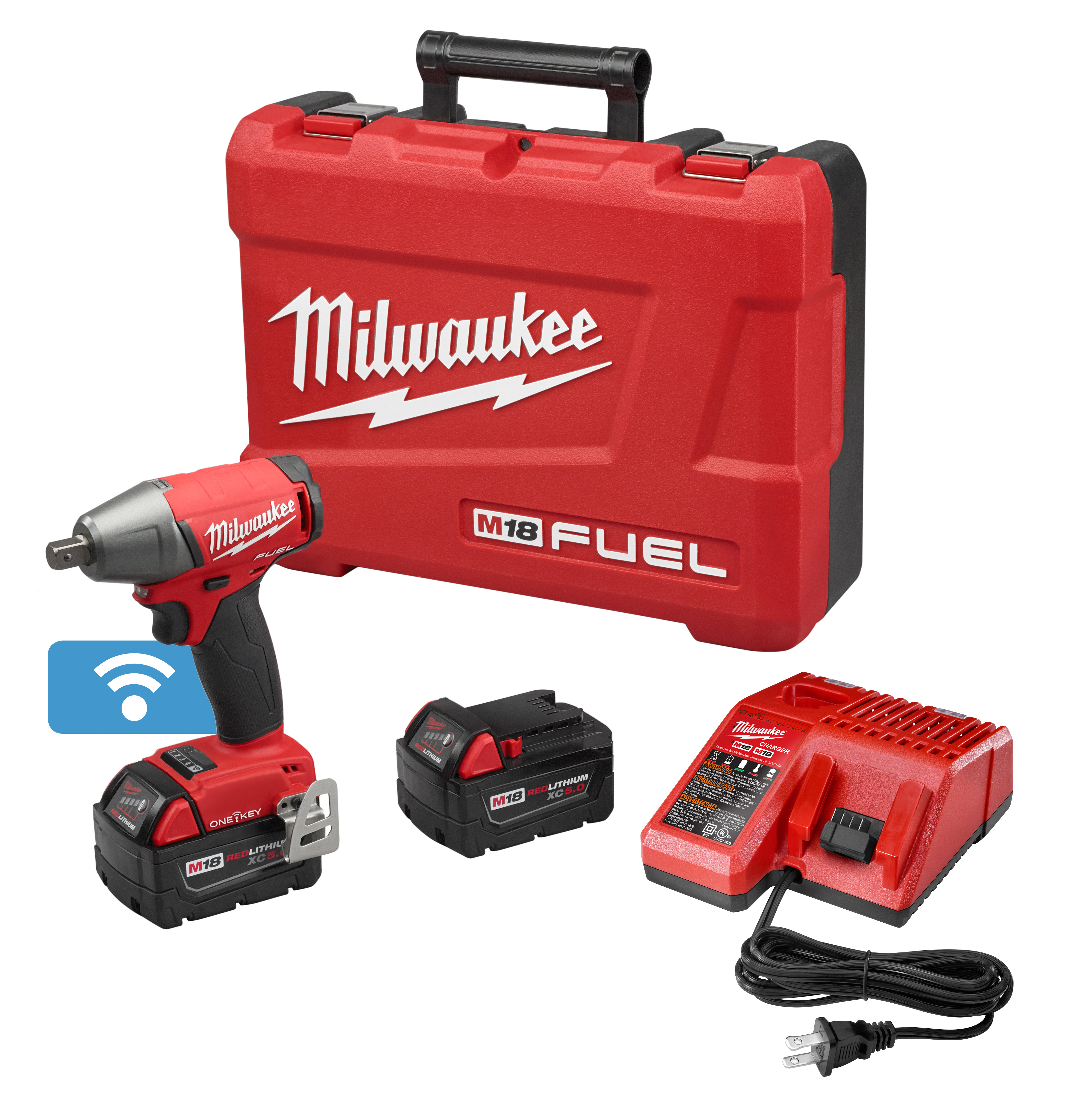Milwaukee® M18™ FUEL™ 2759-22 Brushless Compact Compact Impact Wrench Kit With Pin Detent, 1/2 in Straight Drive, 0 to 3200 bpm, 220 ft-lb Torque, 18 VDC, 6.1 in OAL