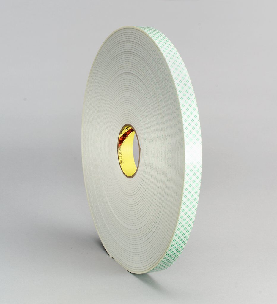 "3M™ 4008-Off-White-3/4""x36yd Double Coated Tape, 36 yd L x 3/4 in W, 125 mil THK, Acrylic Adhesive, Urethane Foam Backing, Off-White"