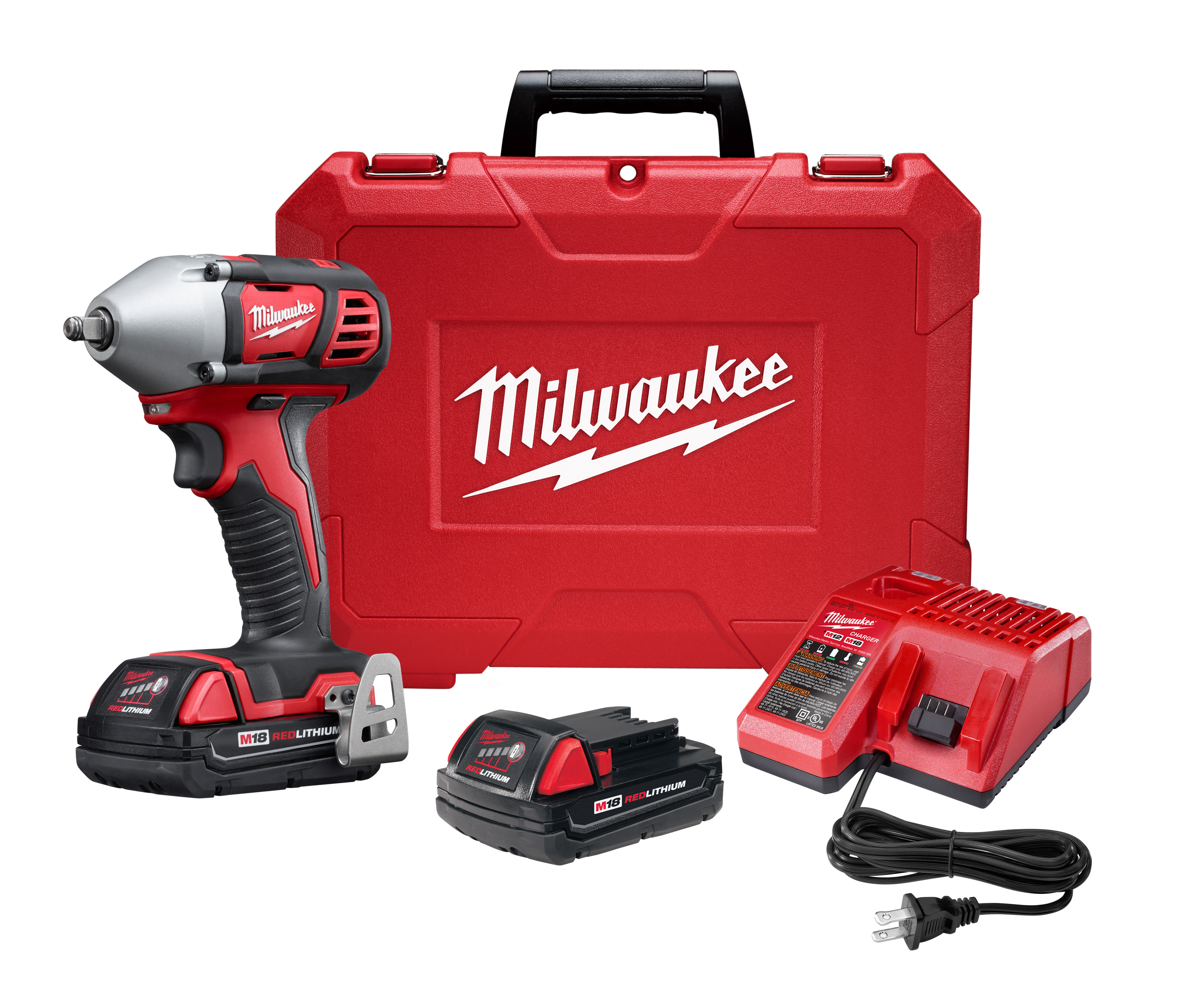 Milwaukee® M18™ 2658-22CT Compact Cordless Impact Wrench Kit With Friction Ring, 3/8 in Straight Drive, 3350 bpm, 167 ft-lb Torque, 18 VDC, 6 in OAL