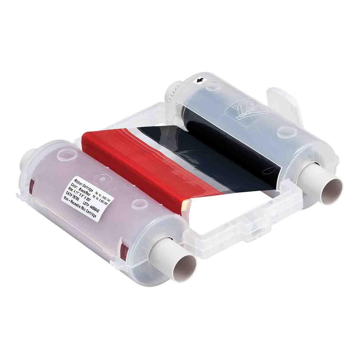 Brady® 76762 R10000 2-Color Industrial Grade Printer Ribbon, 200 ft L x 4.11 in W, Resin, Black/Red