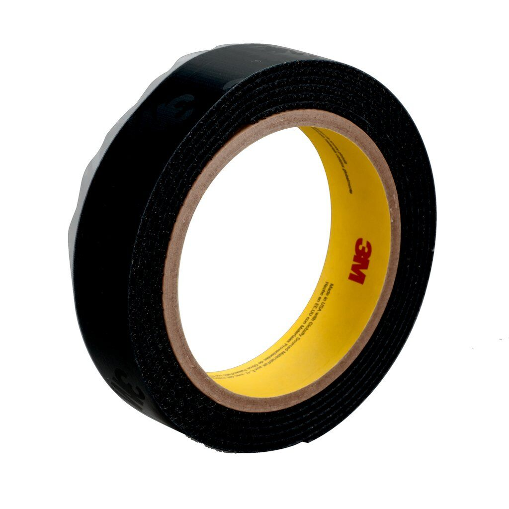 """3M™ SJ-3572-1""""x50yd-Black Reclosable Hook Fastener Tape, 50 yd L x 1 in W, 0.15 in THK Engaged, High Performance Acrylic PSA Adhesive, Woven Nylon Backing, Black"""