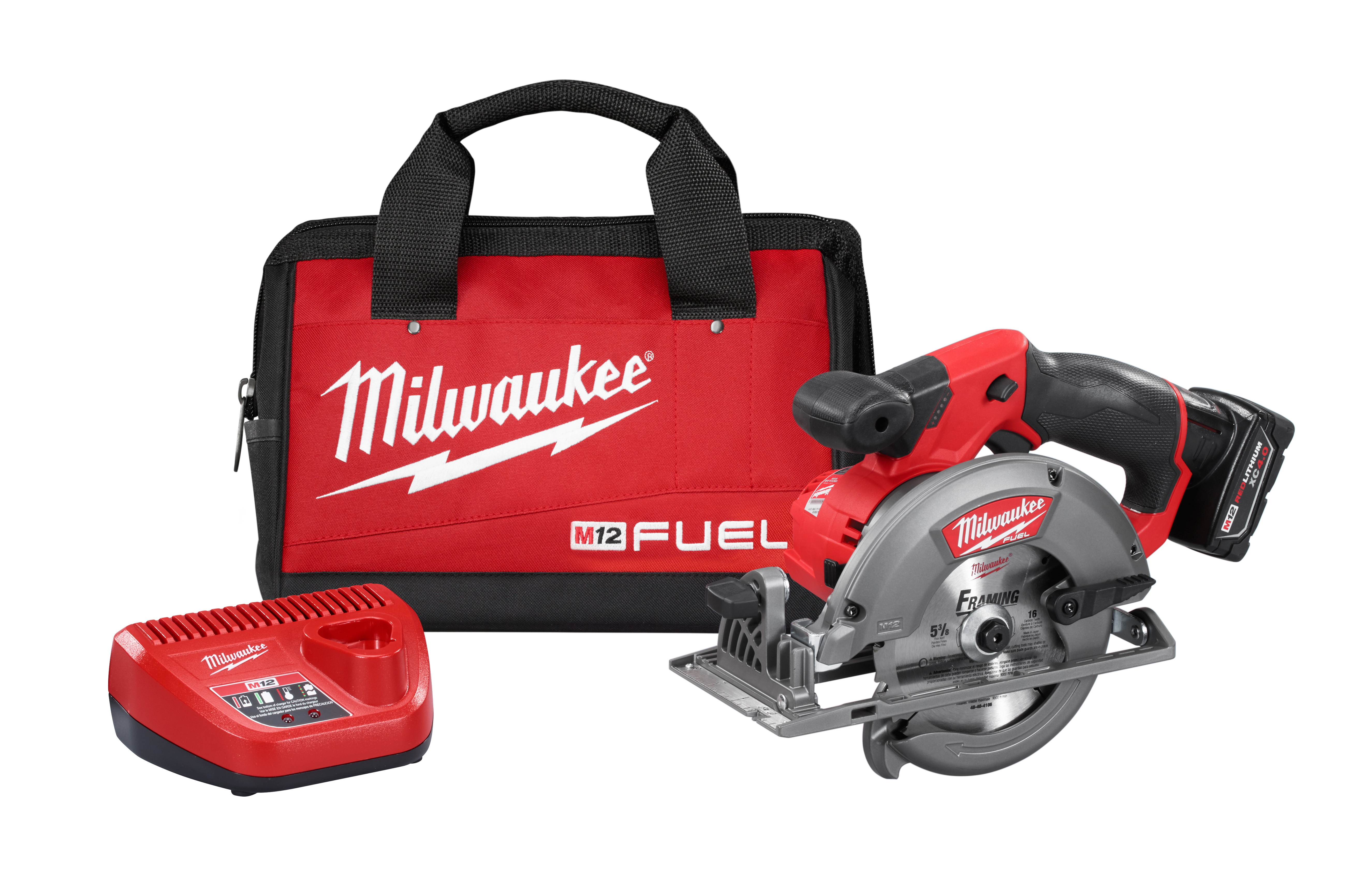 Milwaukee® M12™ FUEL™ 2530-21XC Cordless Circular Saw Kit, 5-3/8 in, 5-1/2 in Blade, 10 mm Arbor/Shank, 12 VDC, 1-1/8 in, 1-5/8 in D Cutting, Lithium-Ion Battery