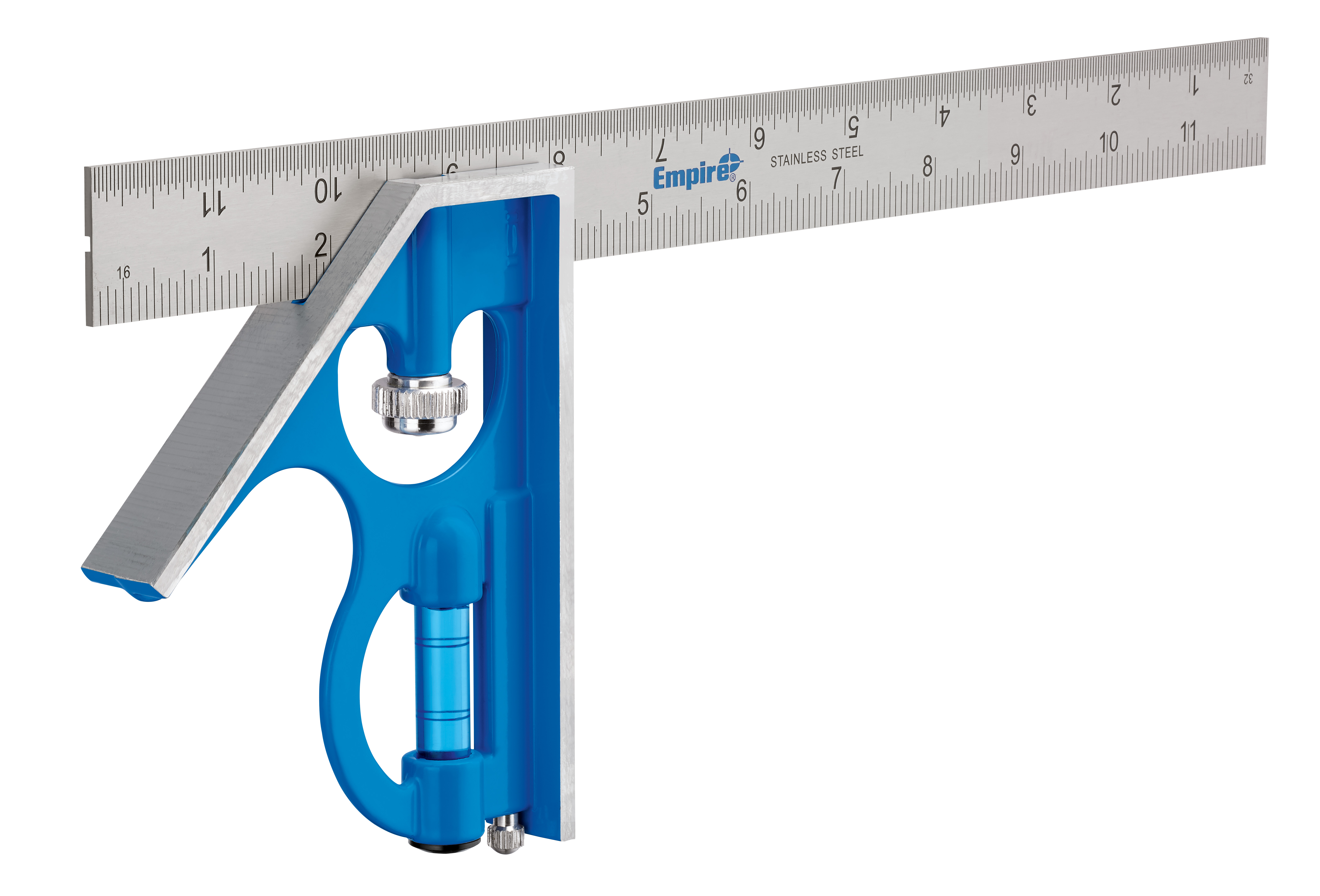 Milwaukee® Empire® TRUE BLUE® E250 Fast Adjustment Professional Combination Square, 12 in W x 3/4 in D x 5 in H, 1/32 in Graduation, 45 deg, Stainless Steel