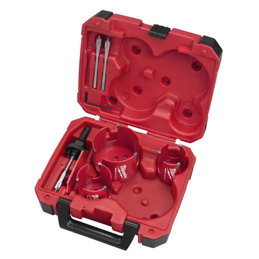 Milwaukee® 49-56-9075 Big Hawg® Hole Cutter Kit, 7 Pieces, For Use With 49-56-7210, 49-56-7240, 49-56-7250 and 49-56-9100 Quick-Change Arbor, HSS