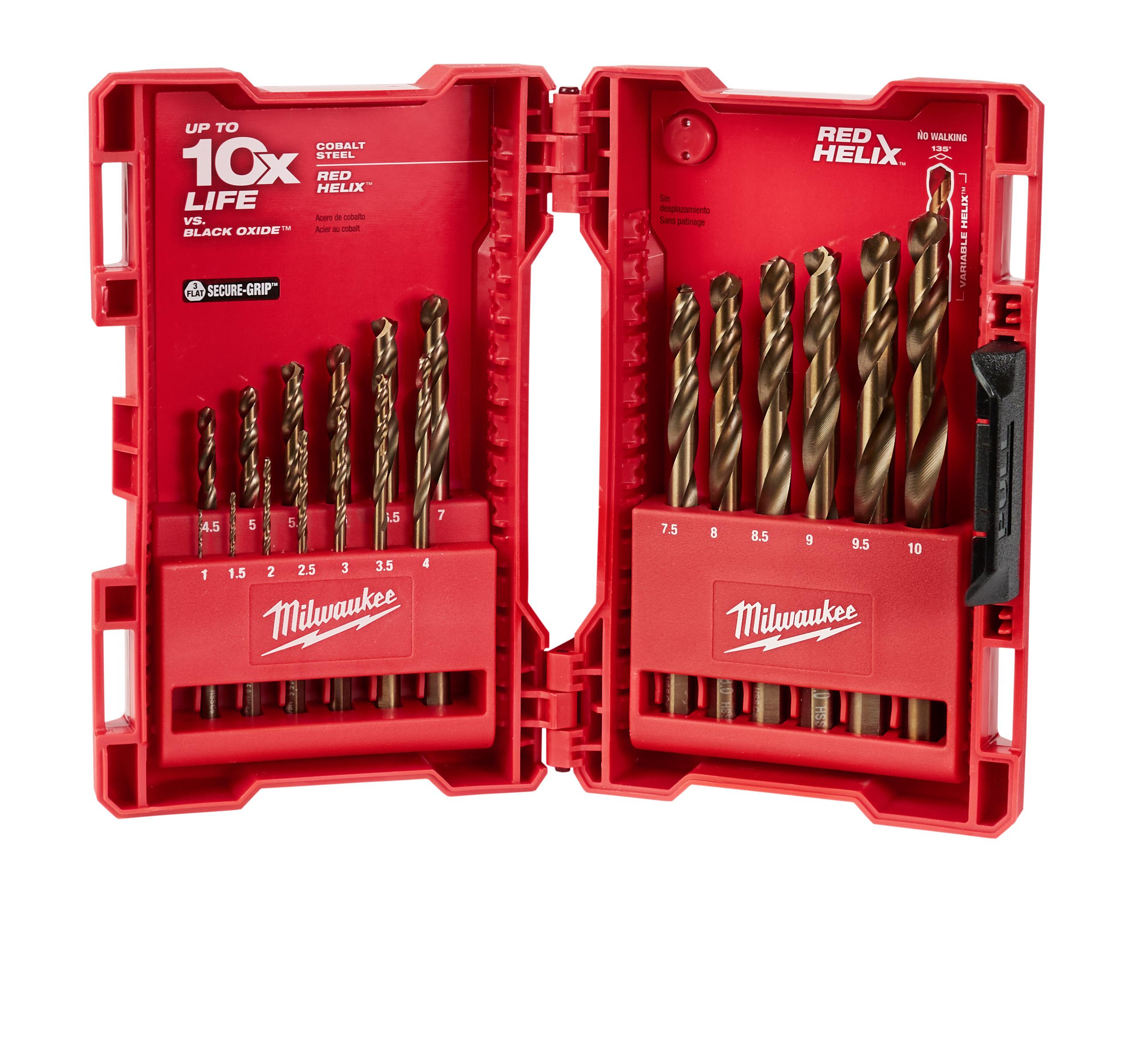 Milwaukee® RED HELIX™ 48-89-2530 Drill Bit Set, 1 mm Min Drill Bit, 10 mm Max Drill Bit, 135 deg Drill Point Angle, 19 Pieces, Cobalt