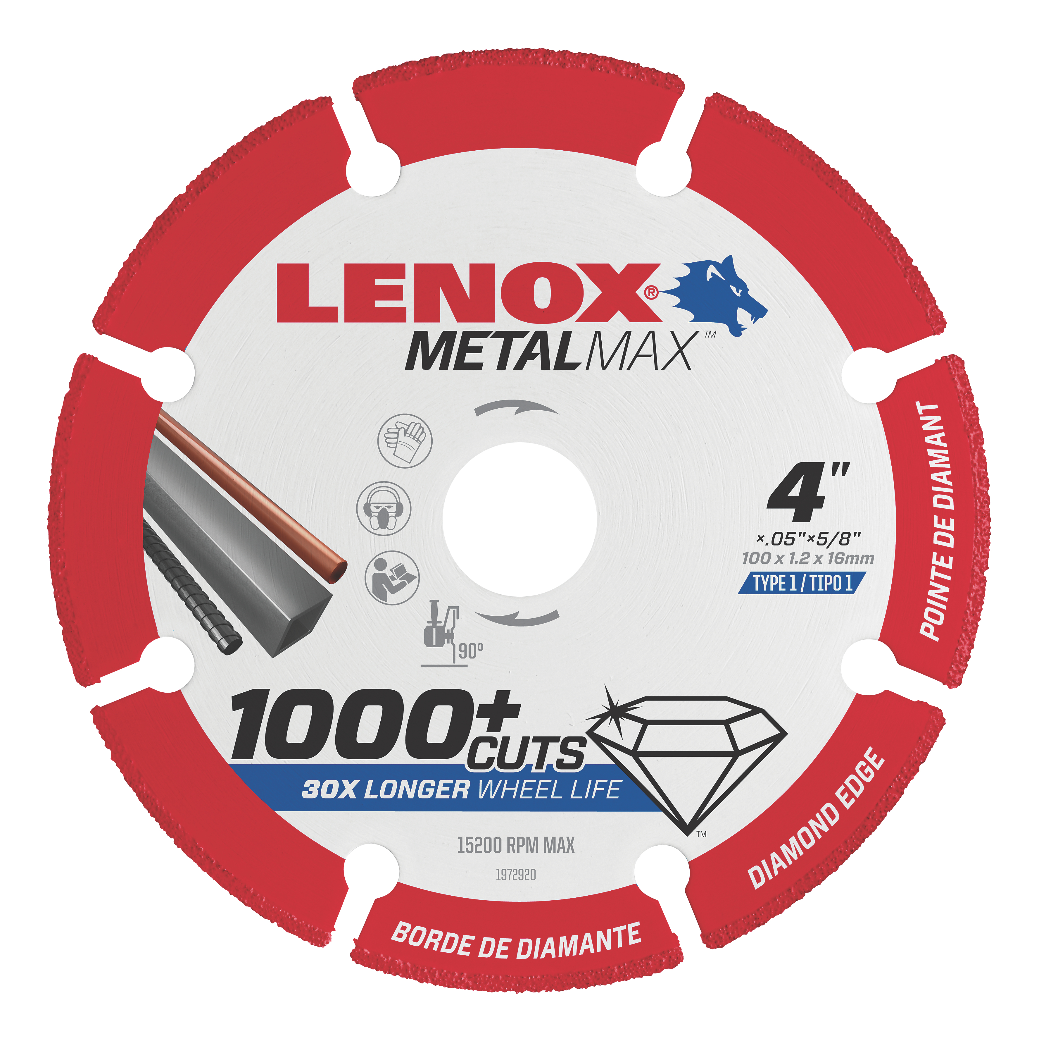 LENOX® TOOLS METALMAX™ 1972920 METALMAX™ Type 1 Cut-Off Wheel, 4 in Dia x 0.05 in THK, 5/8 in Center Hole, 40/50 Grit, Diamond Abrasive