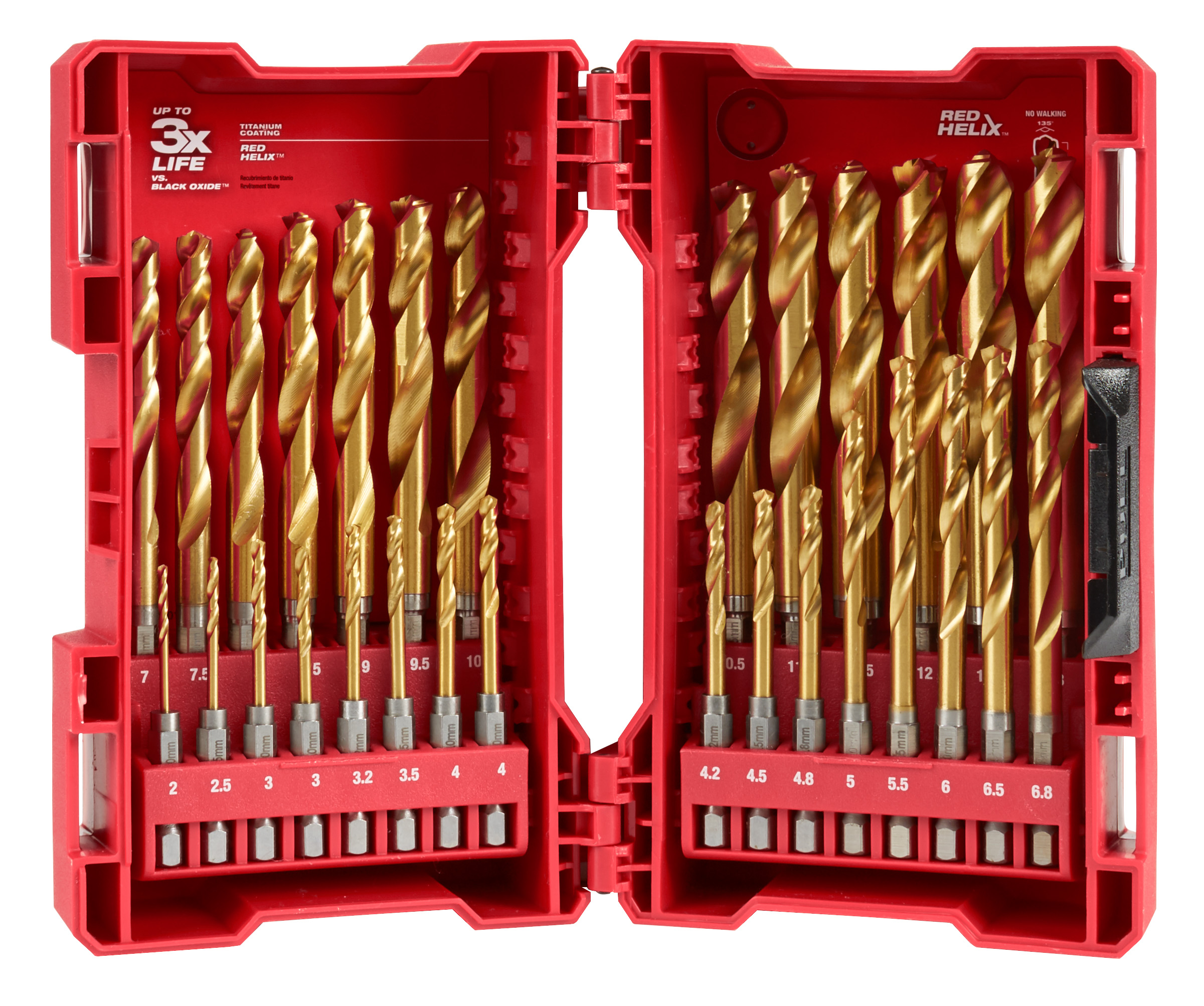 Milwaukee® SHOCKWAVE™ RED HELIX™ 48-89-4862 Drill Bit Set, 2 mm Min Drill Bit, 13 mm Max Drill Bit, 135 deg Drill Point Angle, 29 Pieces, Titanium Coated
