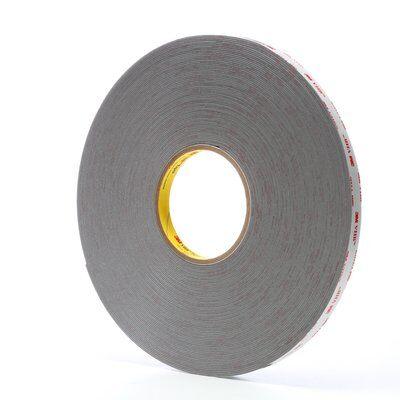 "3M™ VHB™ 4941-Gray-1/2""x36yd-SmPk Pressure Sensitive Double Sided Bonding Tape, 36 yd L x 1/2 in W, 0.045 in THK, Multi-Purpose Acrylic Adhesive, Acrylic Foam Backing, Gray"