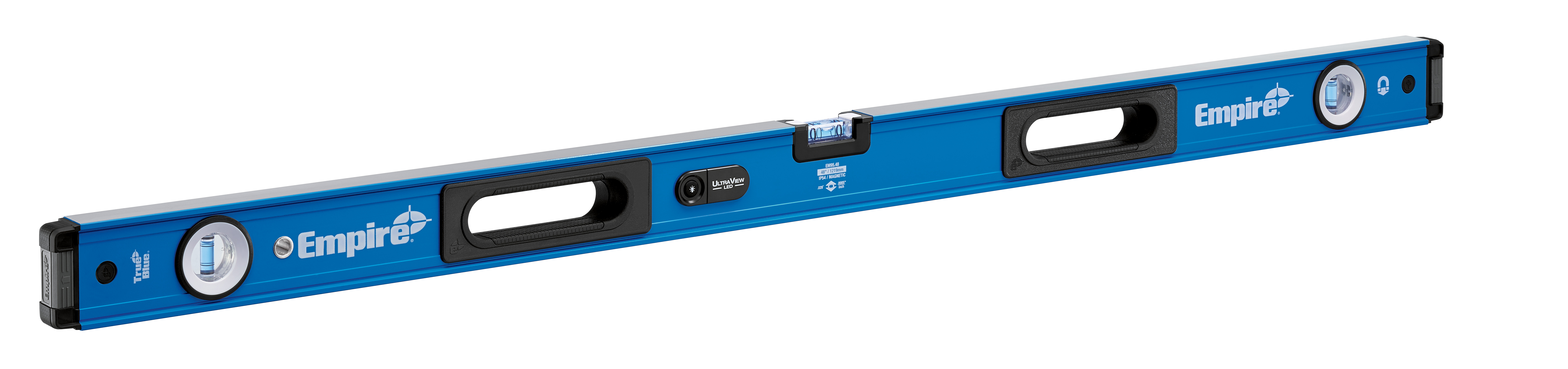 Milwaukee® Empire® TRUE BLUE® ULTRA VIEW® EM95.48 E95 Magnetic LED Box Level, 48 in L, 3 Vials, Aluminum, (1) Level, (2) Plumb Vial Position, 0.0005 in/in Accuracy