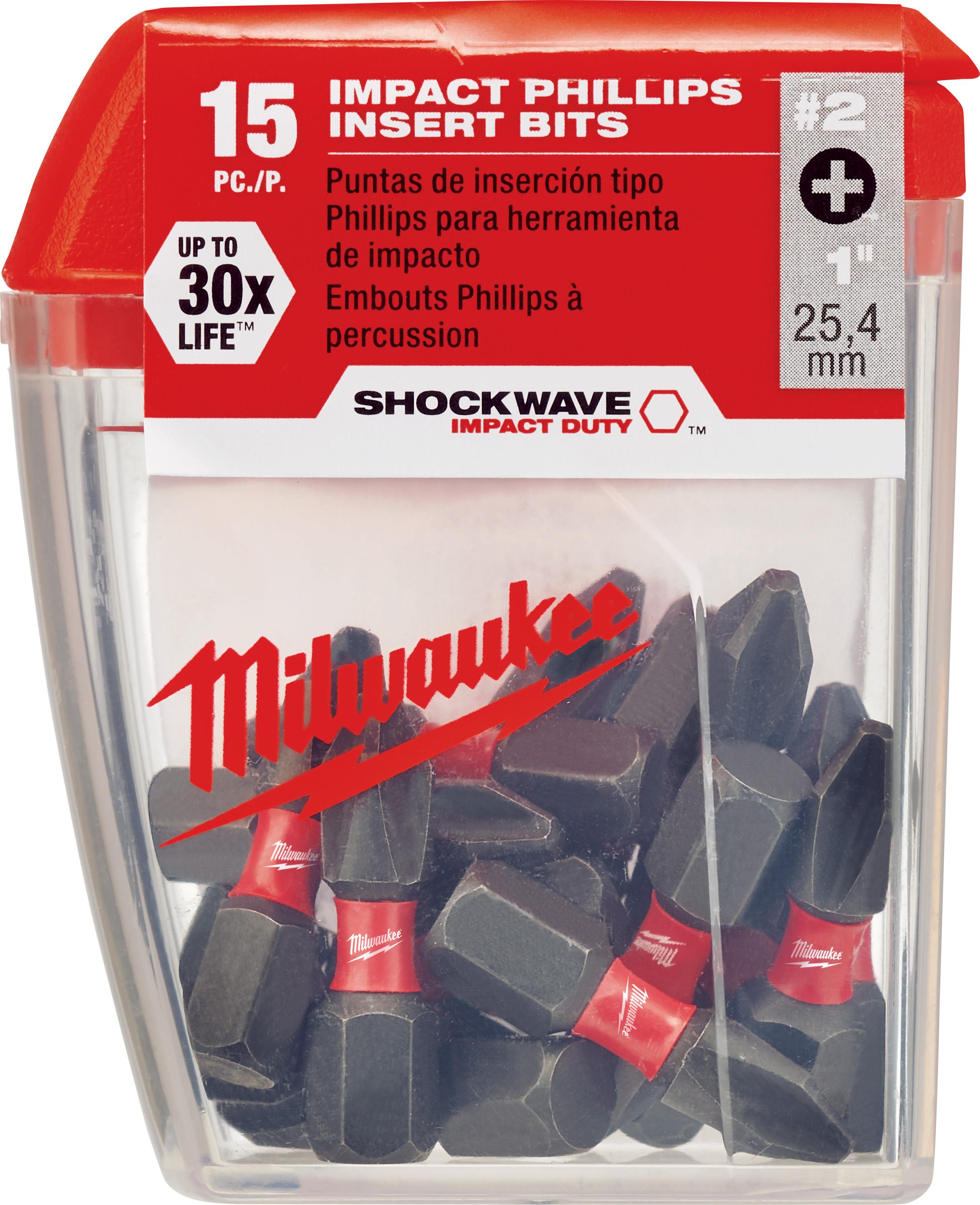 Milwaukee® SHOCKWAVE™ 48-32-5003 Impact Insert Bit, #2 Phillips® Point, 1 in OAL, 1/4 in, Custom Alloy76™ Steel
