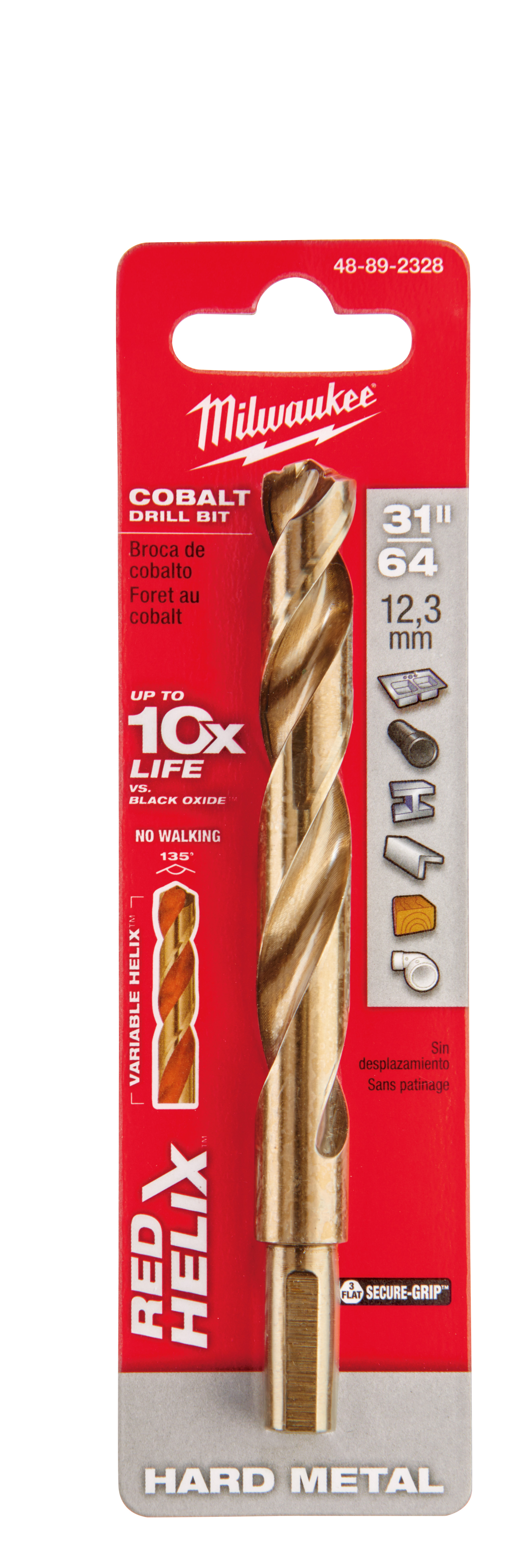 Milwaukee® 48-89-2328 RED HELIX™ Jobber Length Twist Drill Bit, 31/63 in Drill - Fraction, 0.4844 in Drill - Decimal Inch, 135 deg Point, High Speed Cobalt, Uncoated