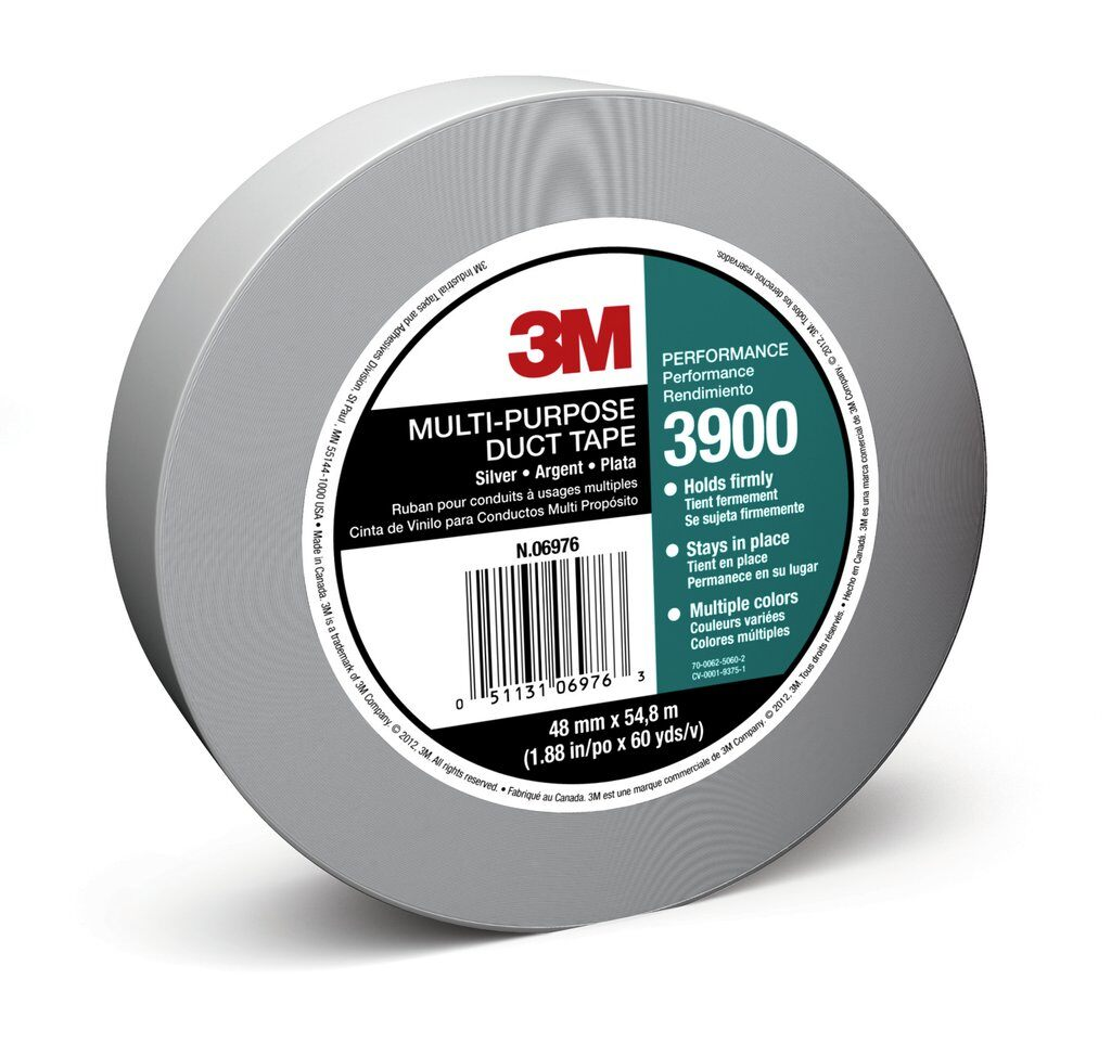 3M™ 3900-Silver Multi-Purpose Duct Tape, 60 yd L x 1.88 in W, 7.6 to 8.1 mil THK, Rubber Adhesive, Polyethylene Backing, Silver