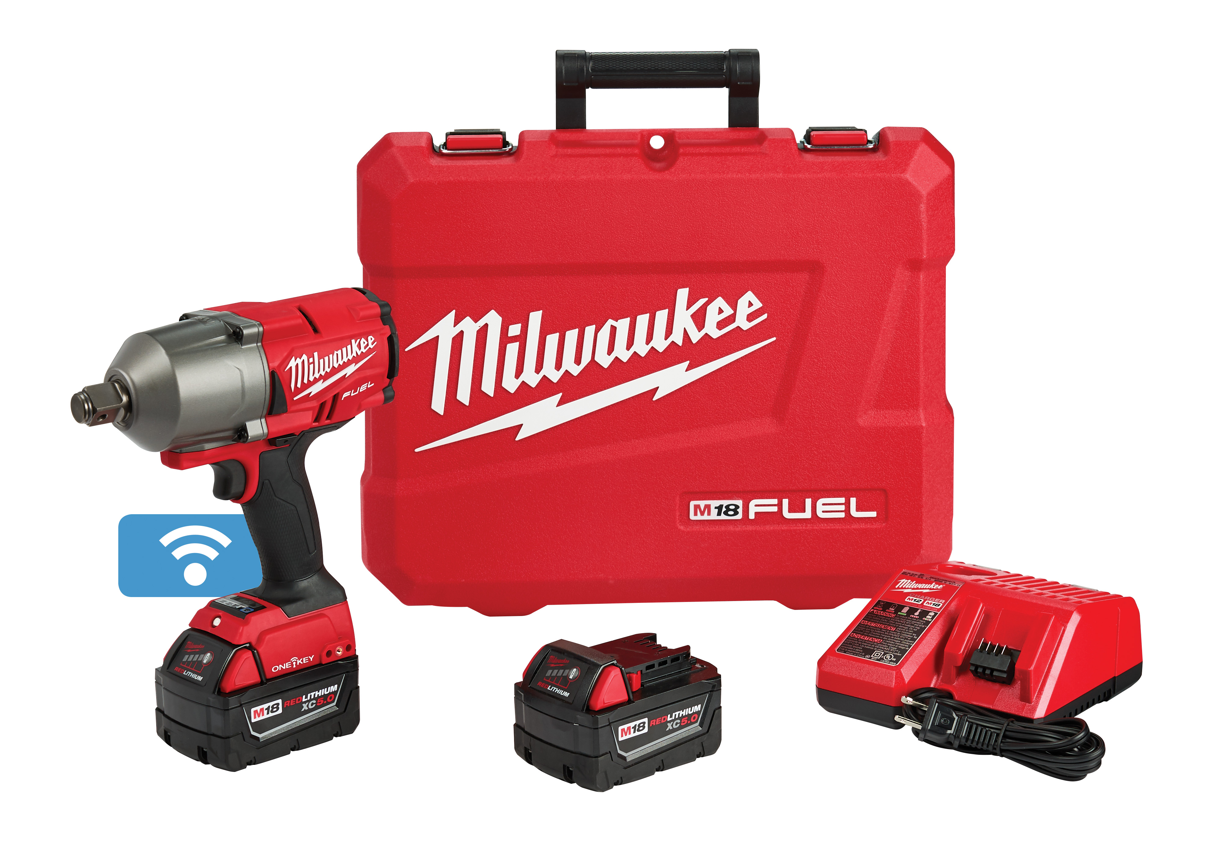 Milwaukee® M18™ FUEL™ ONE-KEY® 2864-22 Cordless High Torque Impact Wrench, 3/4 in 4-Mode Straight Drive, 2100 bpm, 1200/1500 ft-lb Torque, 18 VDC, 8.59 in OAL