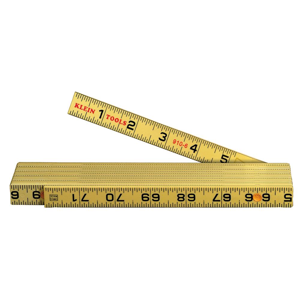 Klein® 910-6 Inside Reading Folding Rule, Graduations 1/16 in, 6 ft L, Fiberglass, Black/Yellow