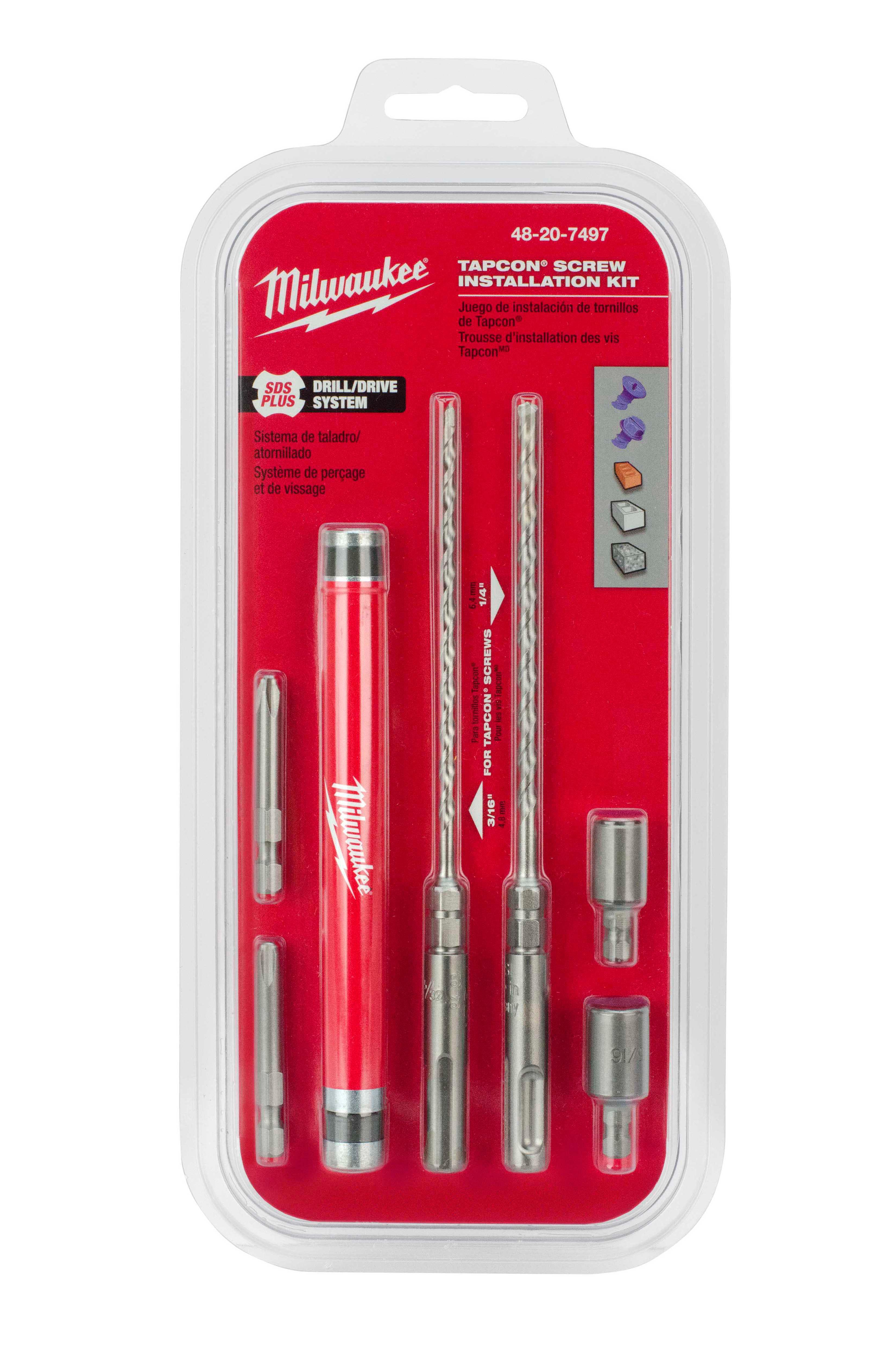 Milwaukee® Tapcon® 48-20-7497 Installation Kit, 7 Pieces, Carbide