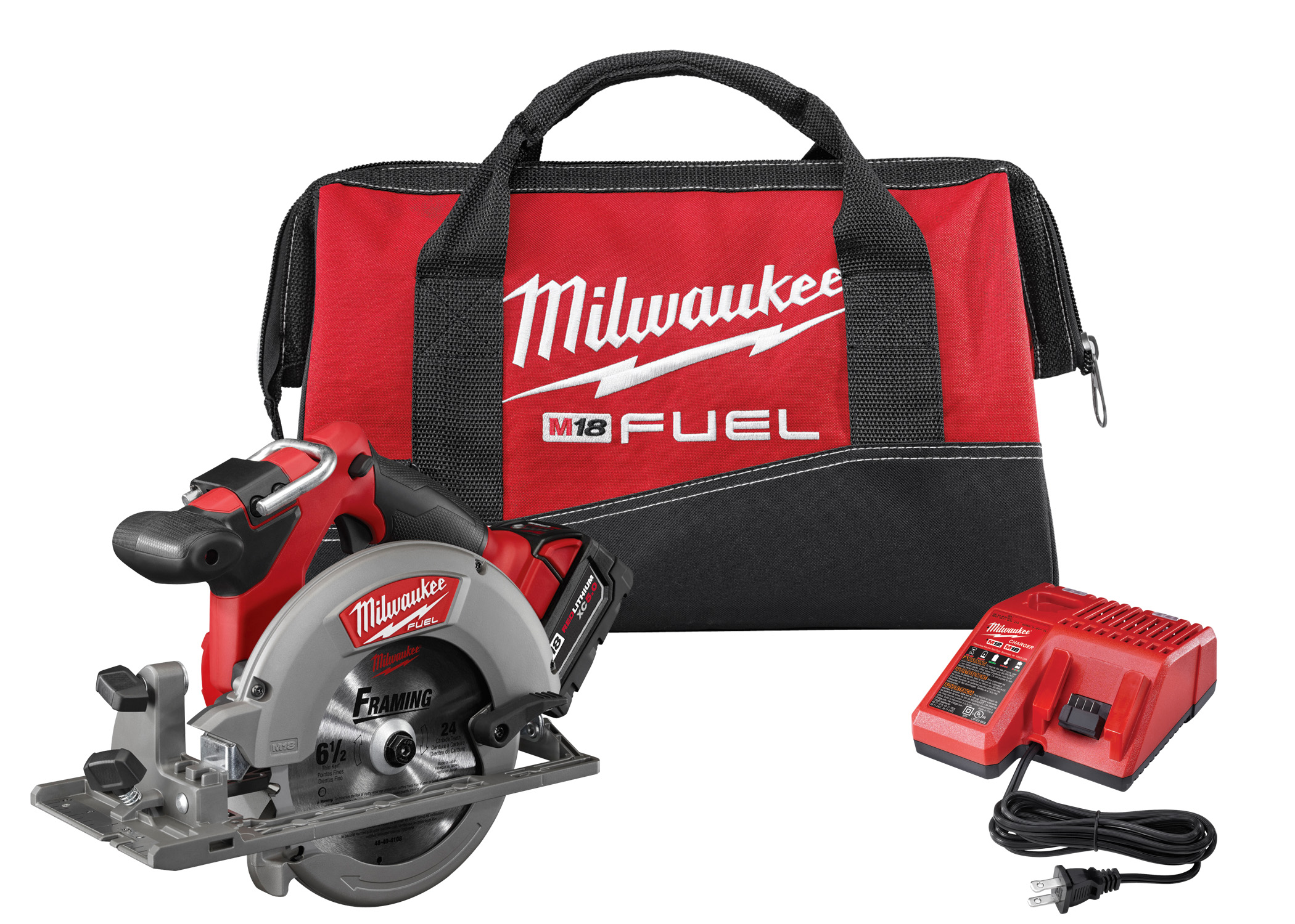 Milwaukee® M18™ FUEL™ 2730-21 Cordless Circular Saw Kit, 6-1/2 in Blade, 5/8 in Arbor/Shank, 18 VDC, 1-5/8 in, 2-3/16 in D Cutting, Lithium-Ion Battery