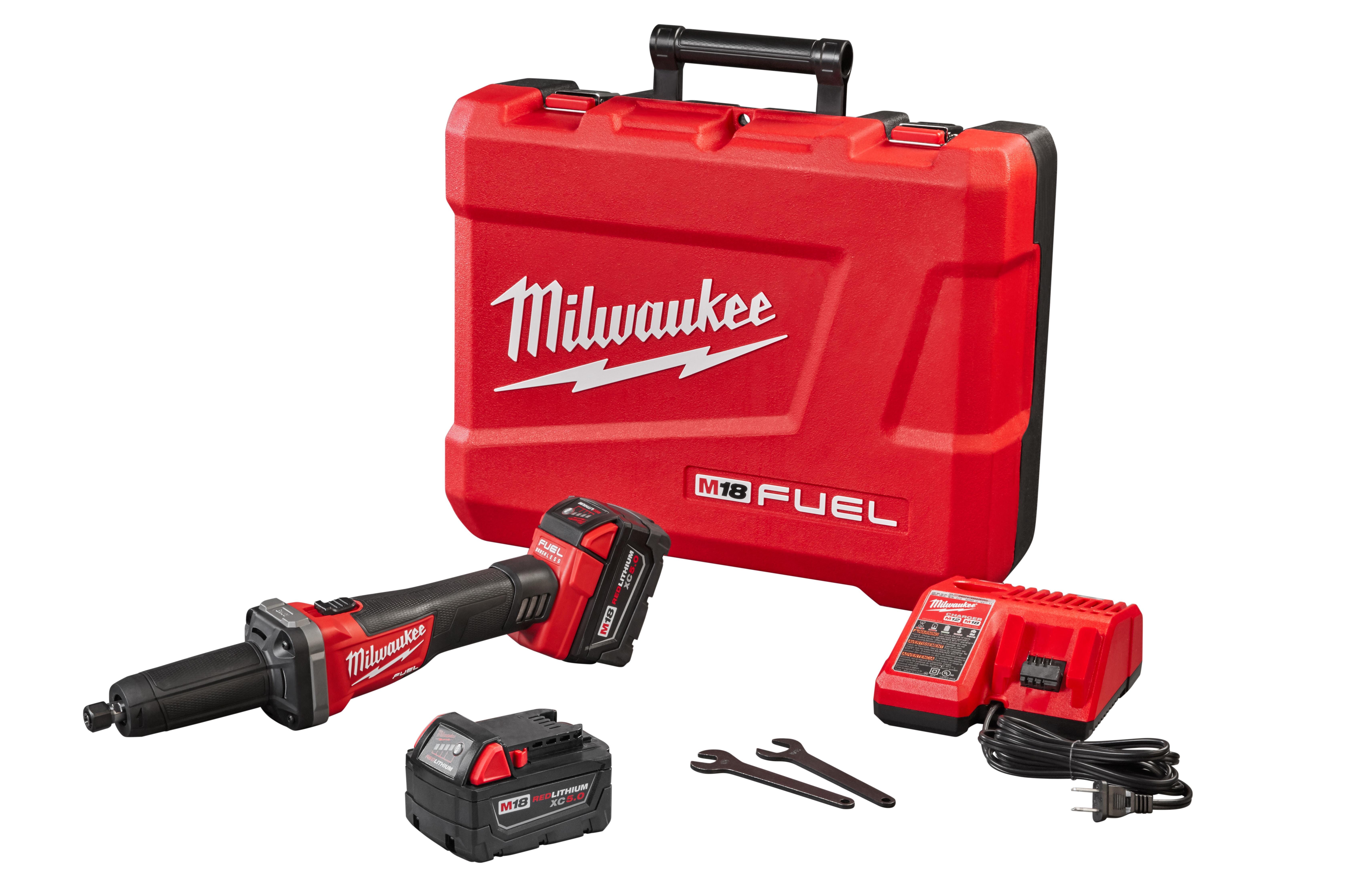 Milwaukee® M18™ FUEL™ 2784-22 Die Grinder Kit, 18 VDC, 5 Ah M18™ REDLITHIUM™ X C5.0 Battery, Black/Red