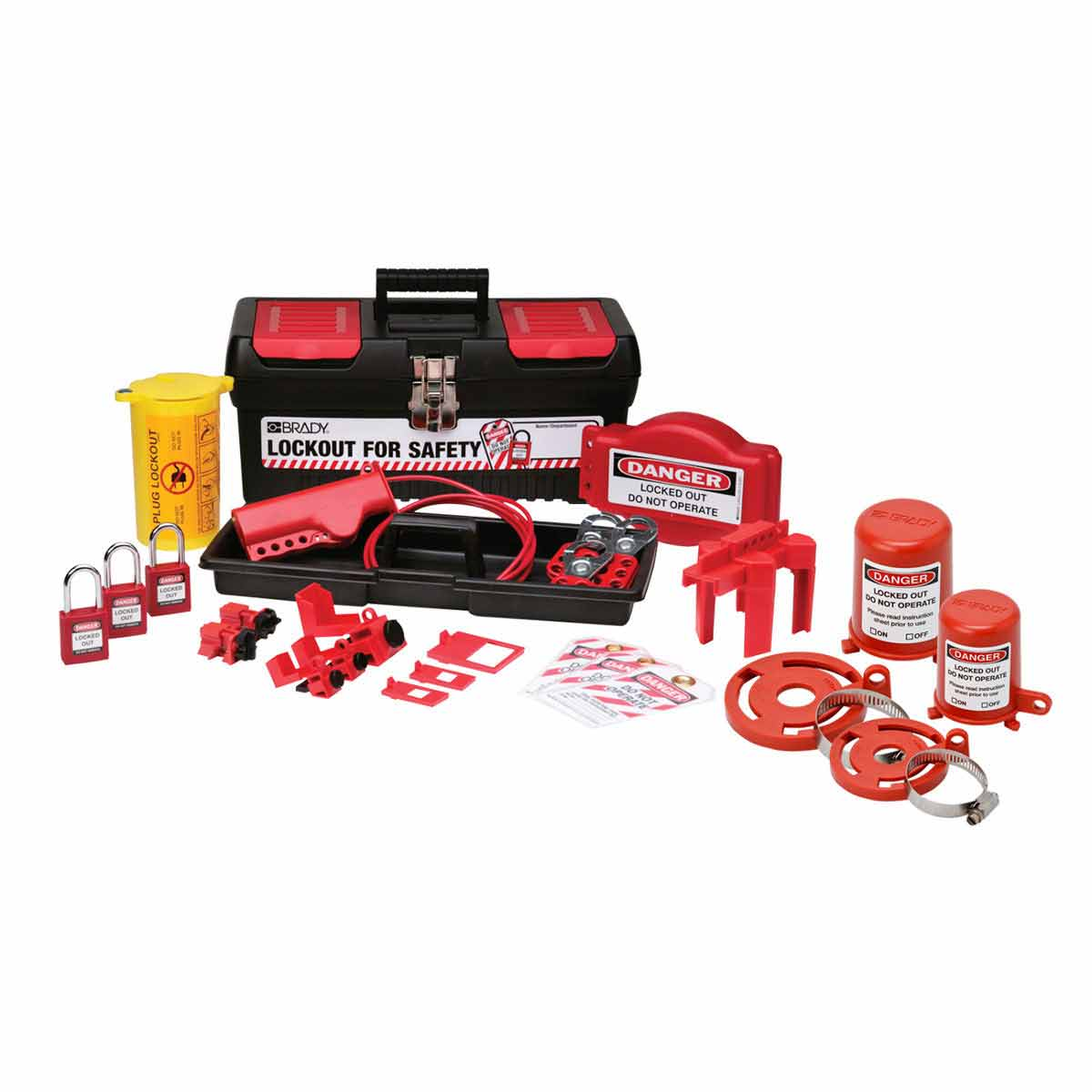 Brady® 105955 Electrical/Mechanical Risk Personal Portable Valve and Electrical Lockout Kit, Filled, 21 Pieces, 7.8 in H x 16.2 in W x 7.3 in D, Language: English