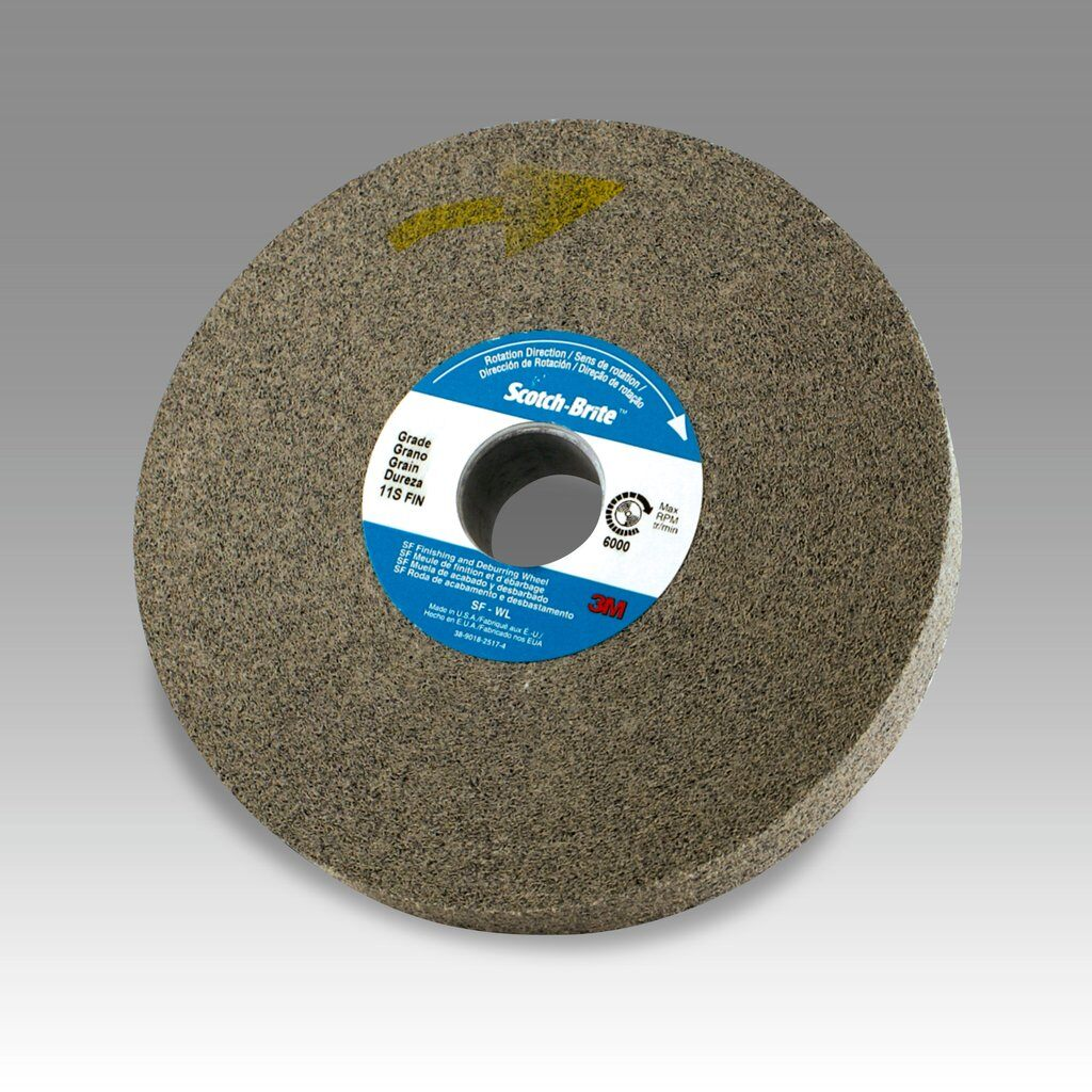 3M™ 048011-01661 LD-WL Convolute Light Deburring Wheel, 6 in Dia Wheel, 1 in Center Hole, 1 in W Face, Fine Grade, Silicon Carbide Abrasive