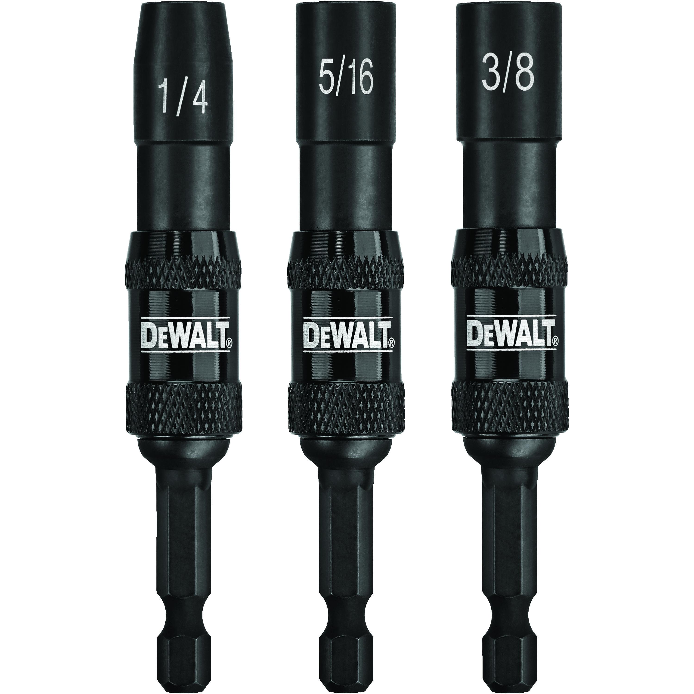 DeWALT® IMPACT READY® DWPVTDRV3 3-Piece Magnetic Pivoting Nut Driver Set, 1/4 in, 5/16 in, 3/8 in Drive, Steel, 1/4 in Hex