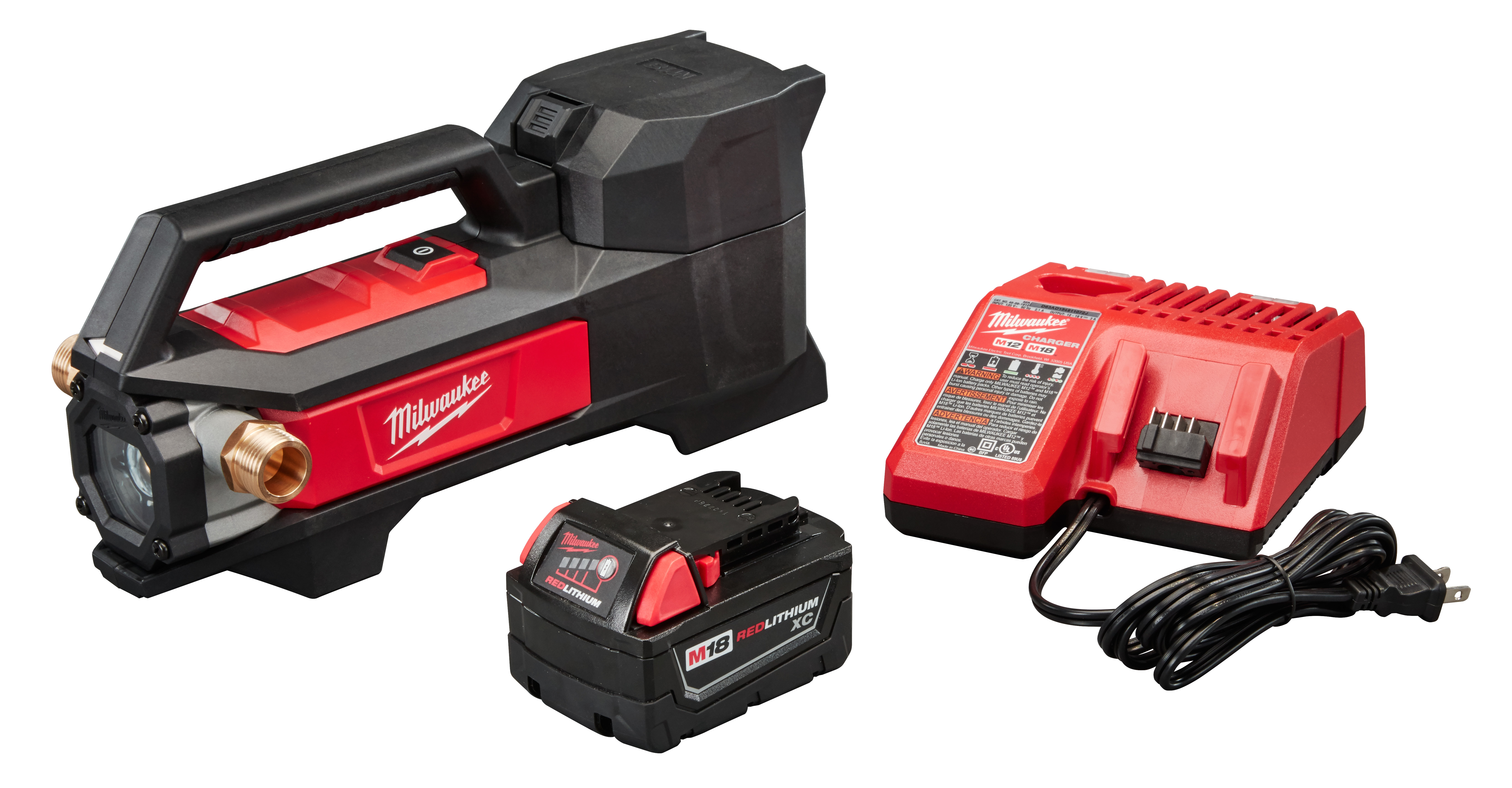 Milwaukee® M18™ 2771-21 Cordless Transfer Pump Kit, 480 gph Flow Rate, 3/4 in Inlet x 3/4 in Outlet, 0.25 hp, Nitrile Rubber/Reinforced Plastic, Import