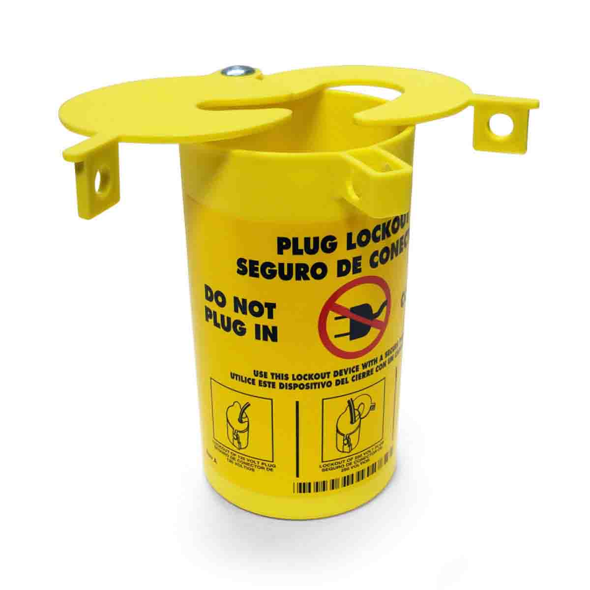 Brady® PLO23 Encasing Electrical Risk Plug Lockout Device, For Use With Small, Medium and Large Diameter Cord Up to 1-1/4 in, 0.37 in Dia Max Padlock Shackle, LOTO-28 Thermoplastic Elastomer, Yellow