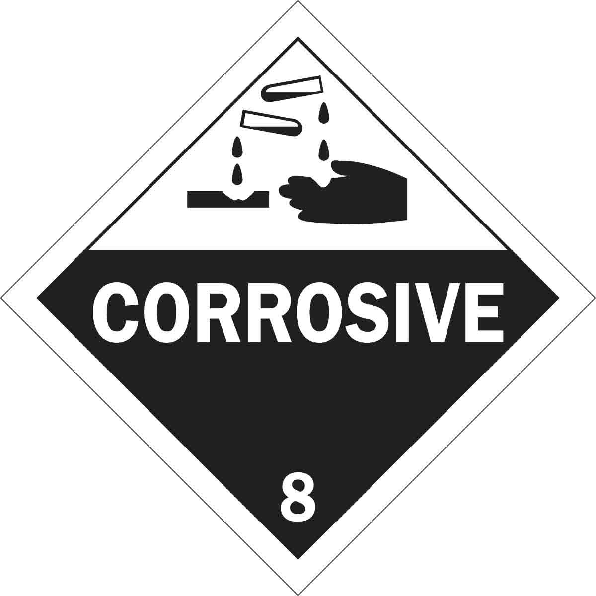 Brady® 63454 Diamond DOT Vehicle Placard Sign, CORROSIVE 8 Legend, Black on White, 10-3/4 in H, B-101 Polycoated Tagstock