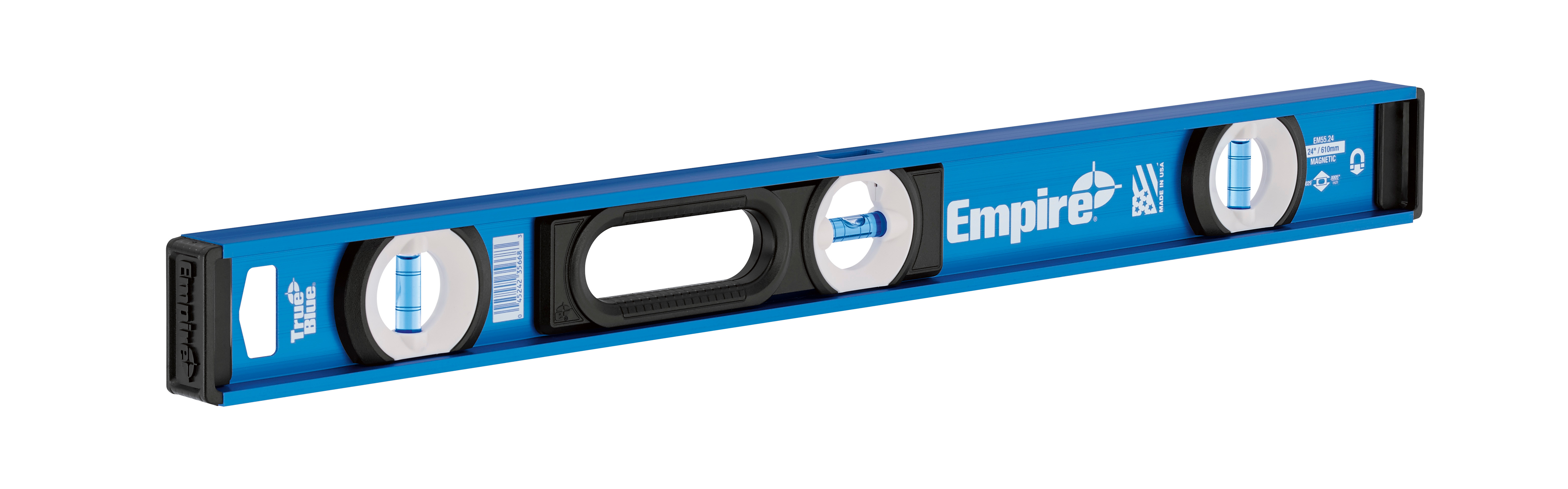 Milwaukee® Empire® EM55.24 Heavy Duty Magnetic I-Beam Level, 24 in L, 3 Vials, Aluminum, (1) Level, (2) Plumb Vial Position, 0.0005 in Accuracy