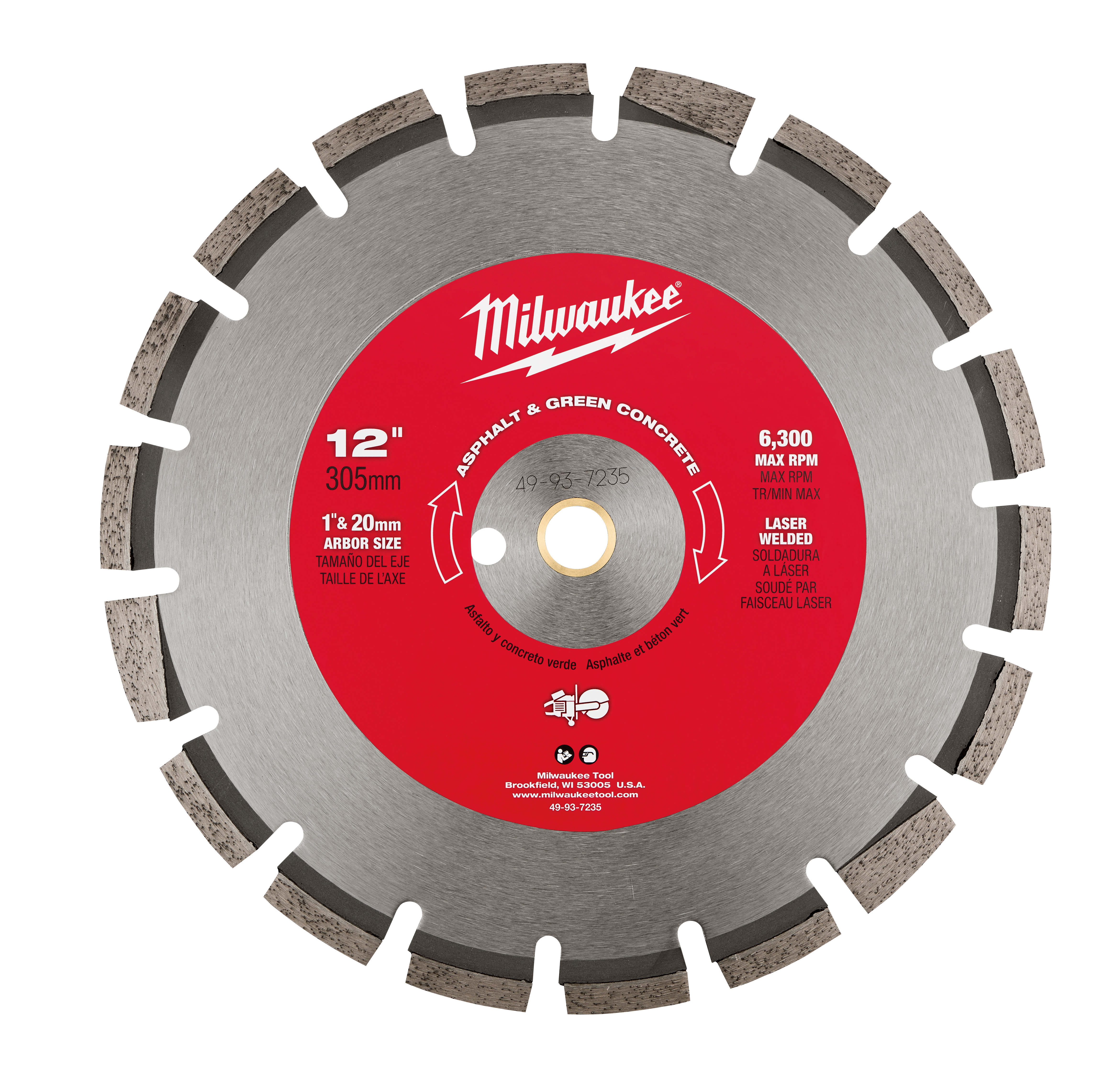 Milwaukee® 49-93-7235 Circular Segmented Diamond Blade, 12 in Dia Blade, 1/8 in W, 1 in Arbor/Shank, Dry/Wet Cutting