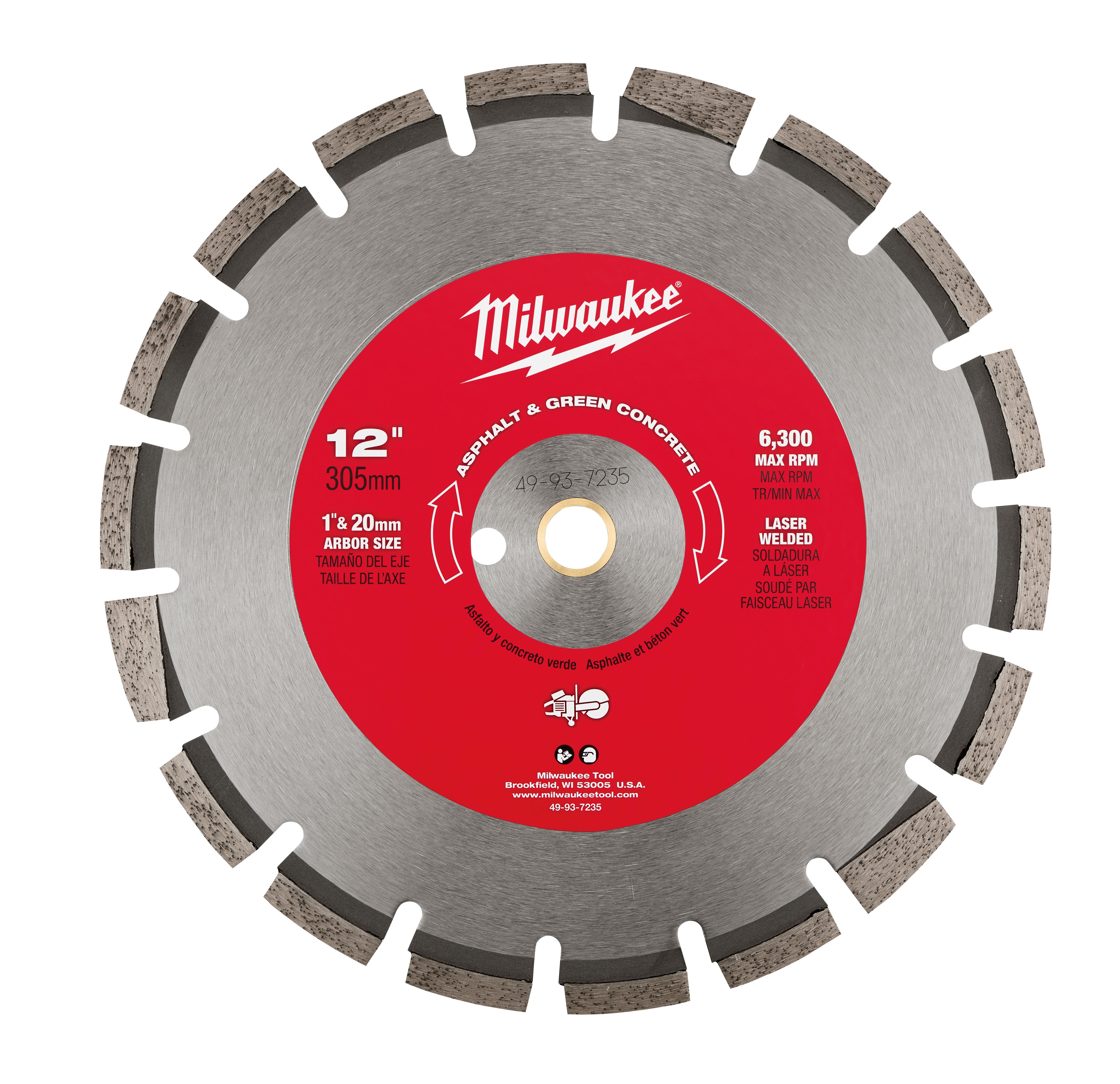 Milwaukee® 49-93-7235 Circular Segmented Diamond Blade, 12 in Dia Blade, 1/8 in W, 1 in Arbor/Shank, Dry/Wet Cutting