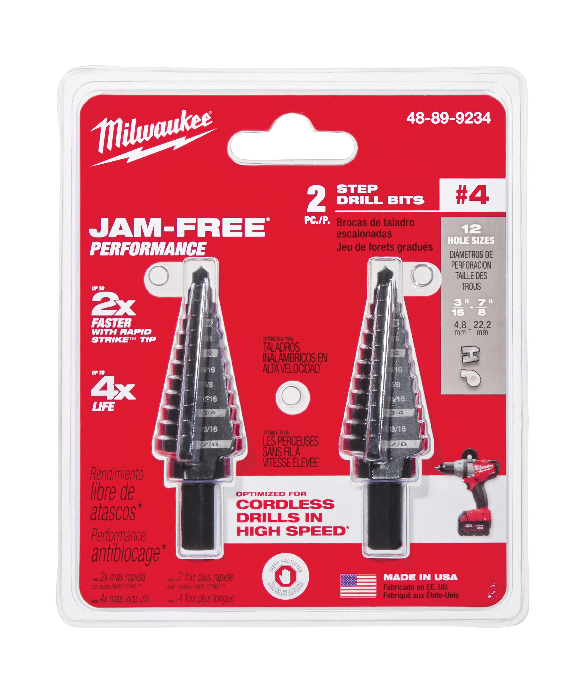 Milwaukee® 48-89-9234 Step Drill Bit Set, #4 Max Drill Bit, 2 Pieces, Black Oxide