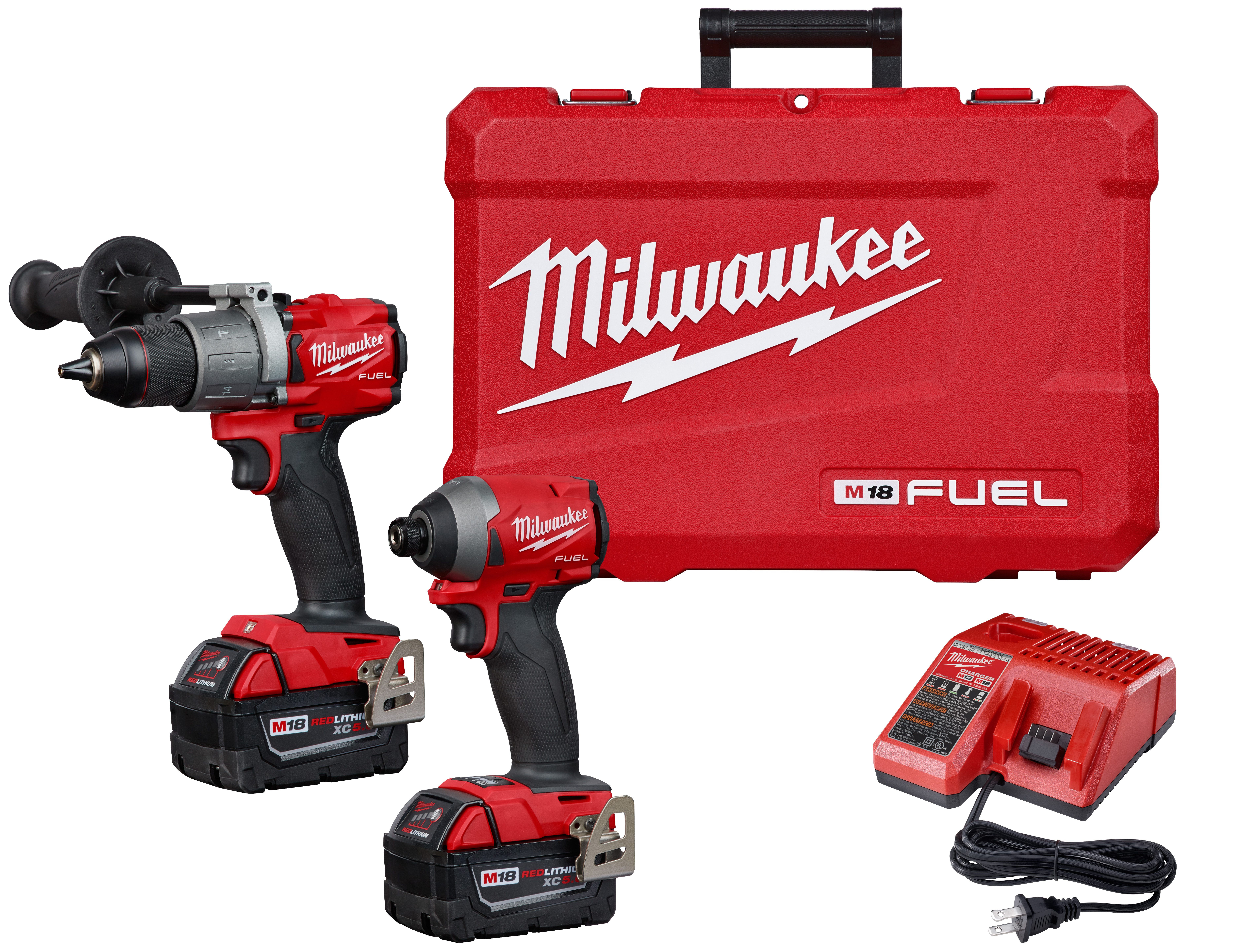 Milwaukee® M18™ 2997-22 2-Tool Cordless Combination Kit, Tools: Hammer Drill, Impact Driver, 18 VDC, 5 Ah Lithium-Ion REDLITHIUM™ Battery