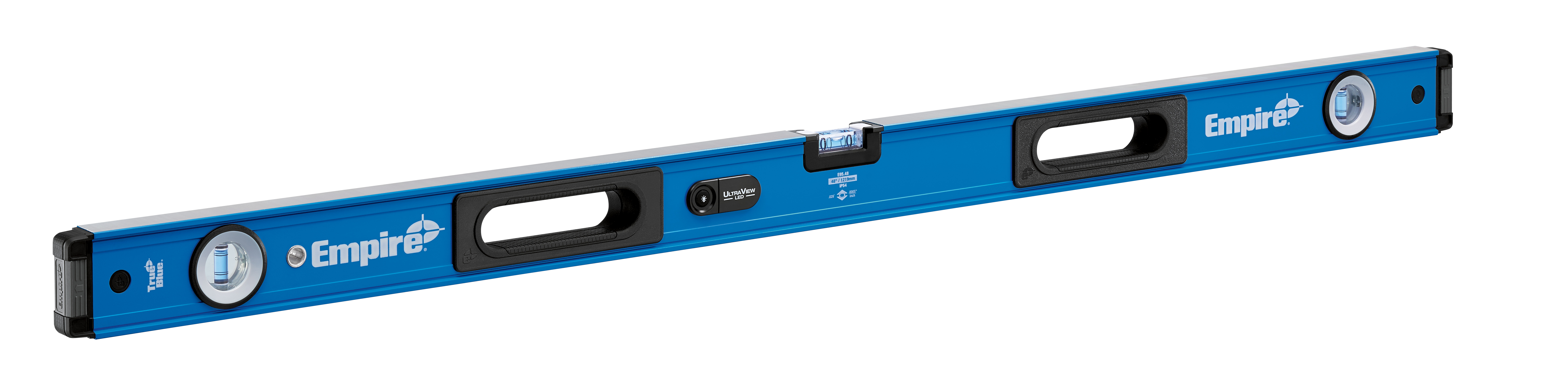Milwaukee® Empire® TRUE BLUE® ULTRA VIEW® E95.48 E95 LED Box Level, 48 in L, 3 Vials, Aluminum, (1) Level, (2) Plumb Vial Position, 0.0005 in/in Accuracy