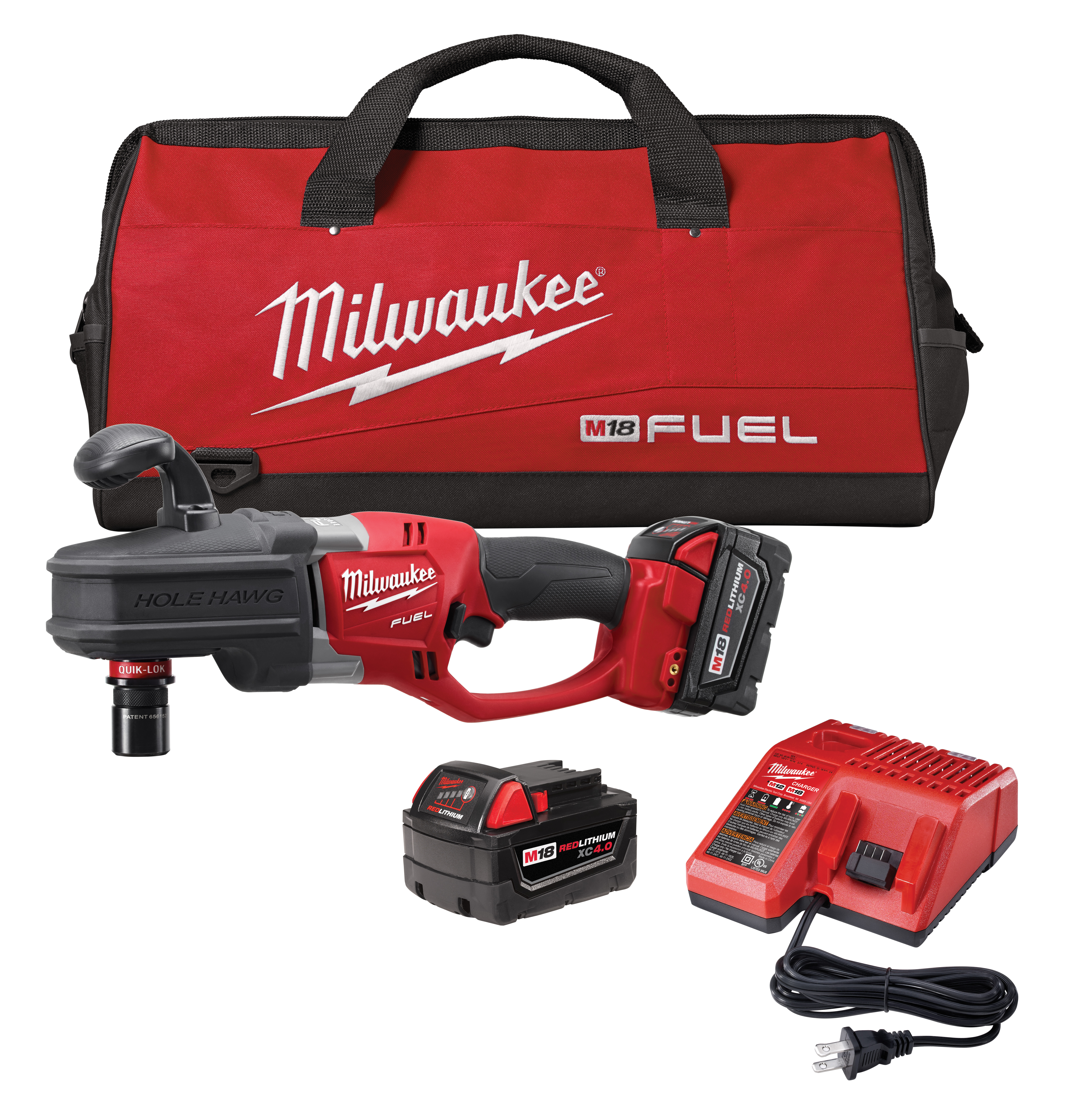 Milwaukee® M18™ FUEL™ 2708-22 HOLE HAWG® Cordless Right Angle Drill Kit, 1/2 in QUIK-LOK™ Chuck, 18 VDC, 650 ft-lb Torque, 0 to 1200 rpm No-Load, 17 in OAL, Lithium-Ion Battery