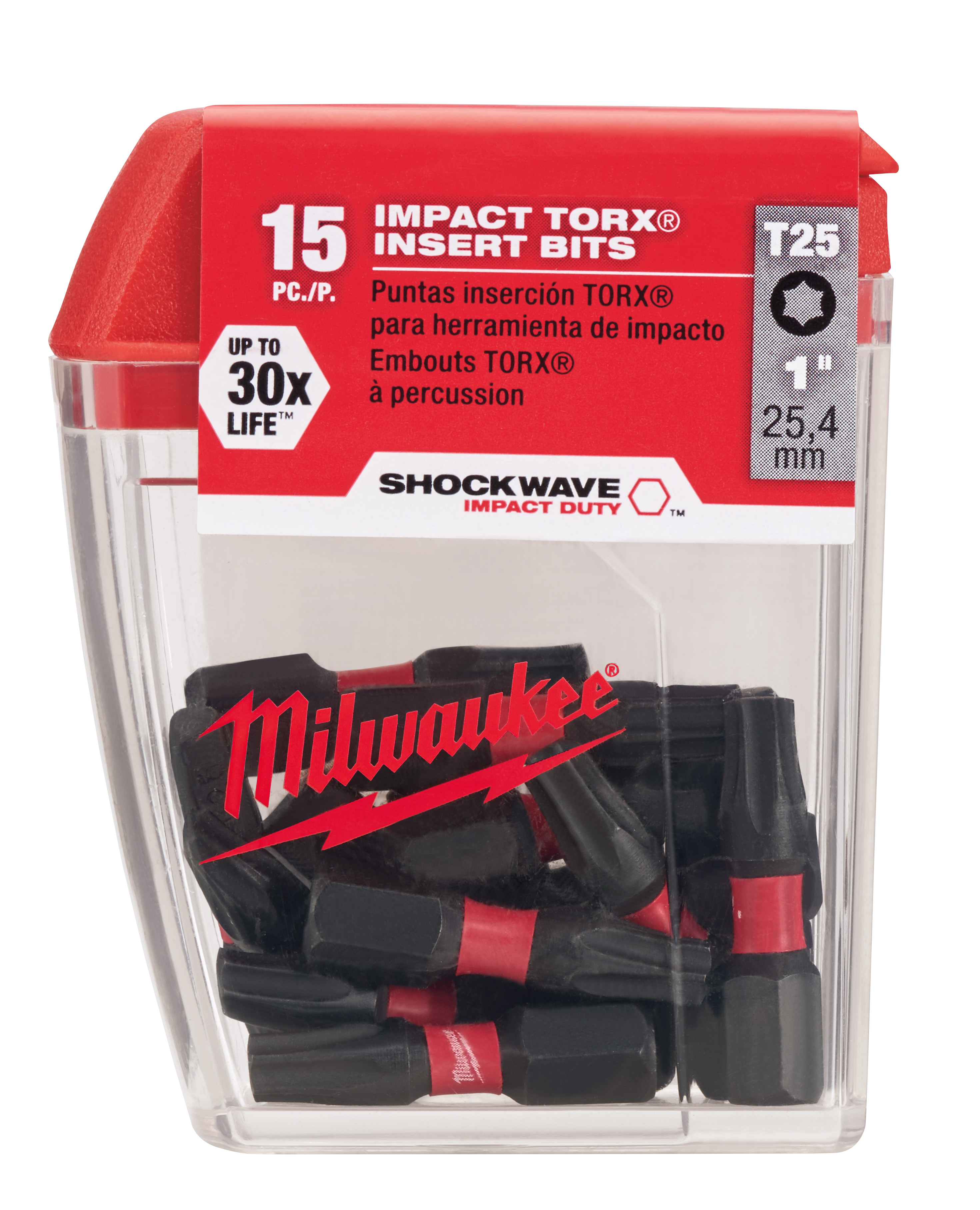 Milwaukee® SHOCKWAVE™ 48-32-5014 Single Ended Insert Bit, T25 Torx® Tic-Tac Point, 1 in OAL