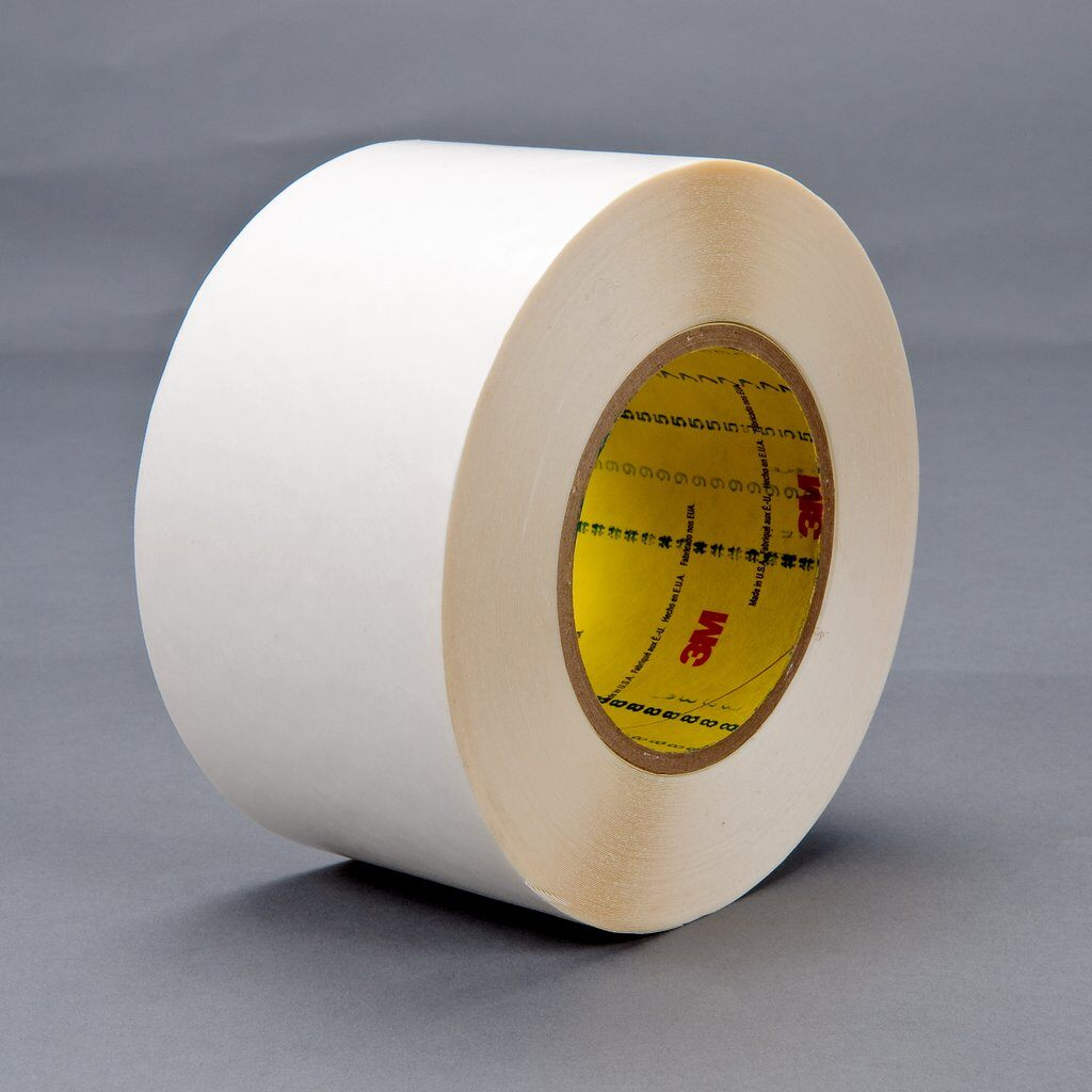 "3M™ 9579-2""x36yd Double Coated Tape, 36 yd L x 2 in W, 9 mil THK, Synthetic Rubber Adhesive, Polyethylene Backing, White"