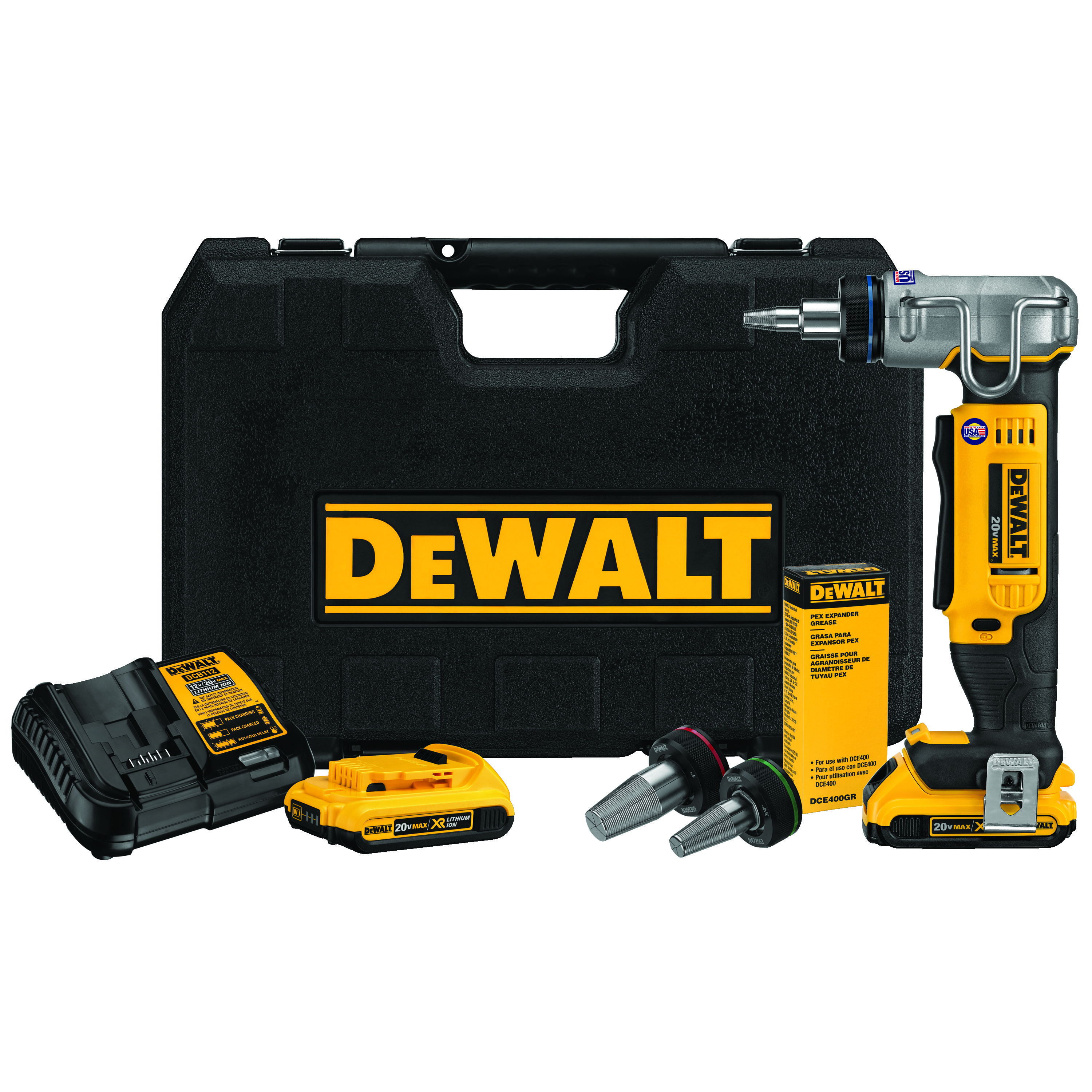 DeWALT® DCE400D2 Type A Cordless PEX Expander Kit, 3/8 to 1 in Tubing, 20 VDC, Lithium-Ion Battery