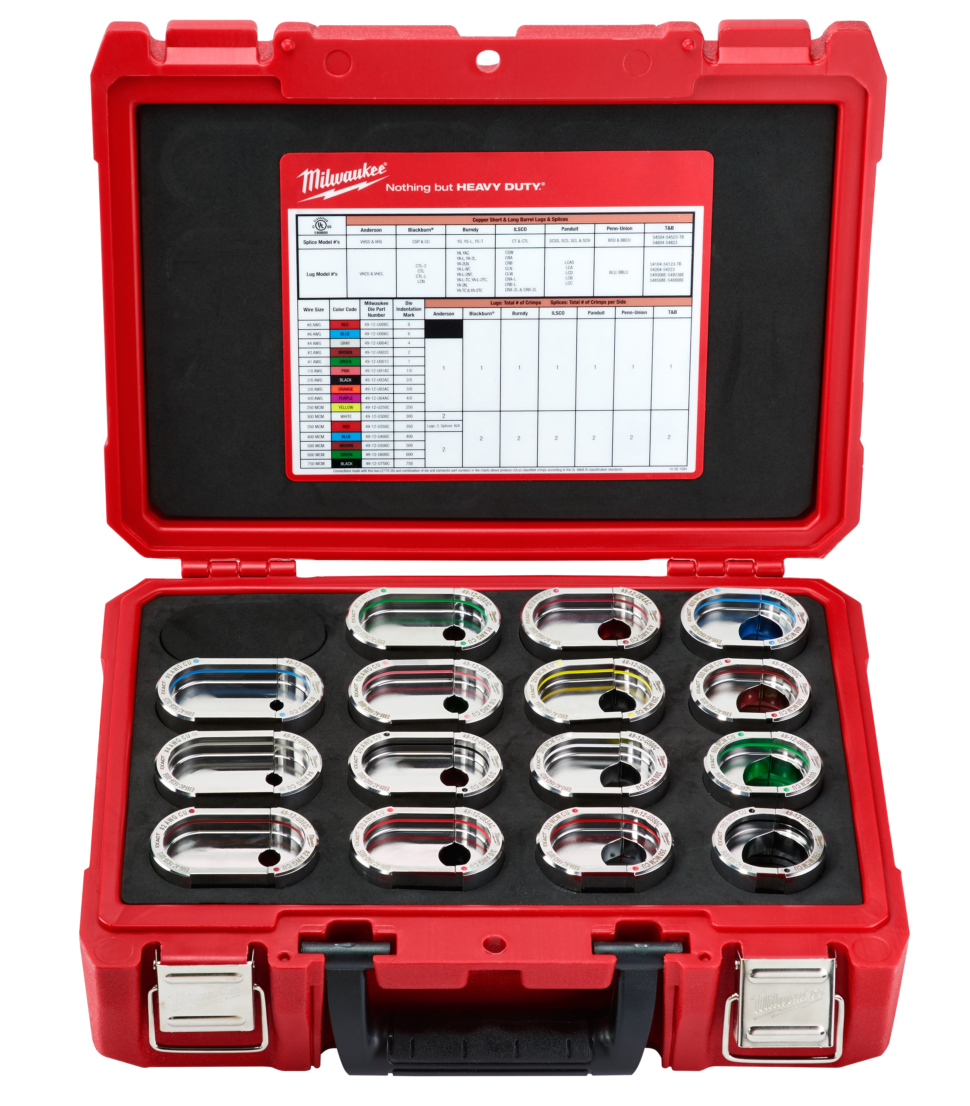 Milwaukee® EXACT™ 49-12-KITC Assorted Crimping Tool Die Kit, 15 Pieces, Stainless Steel