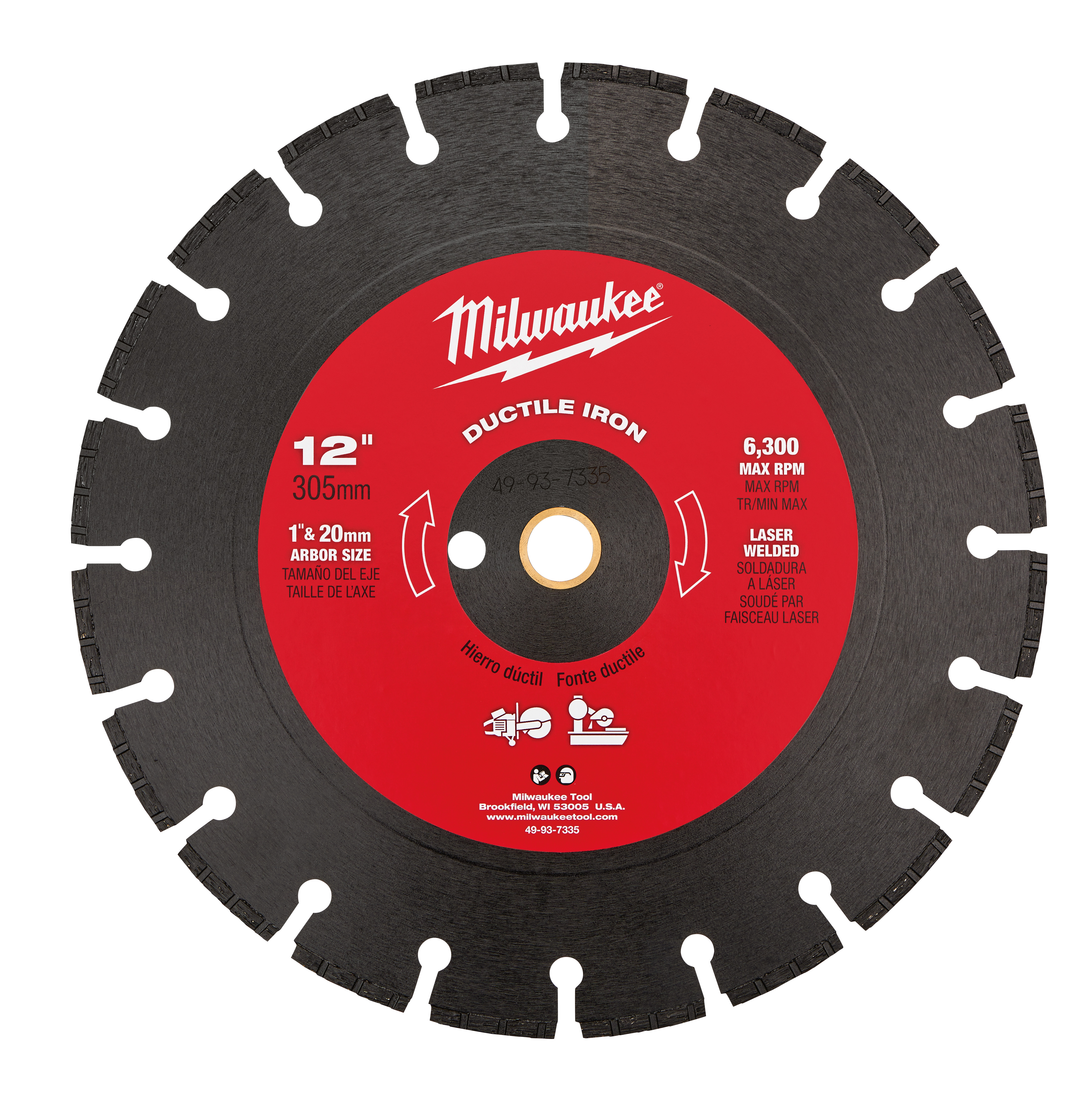 Milwaukee® 49-93-7335 Segmented Diamond Blade, 12 in Dia Blade, 0.11 in W, 1 in Arbor/Shank, Dry/Wet Cutting