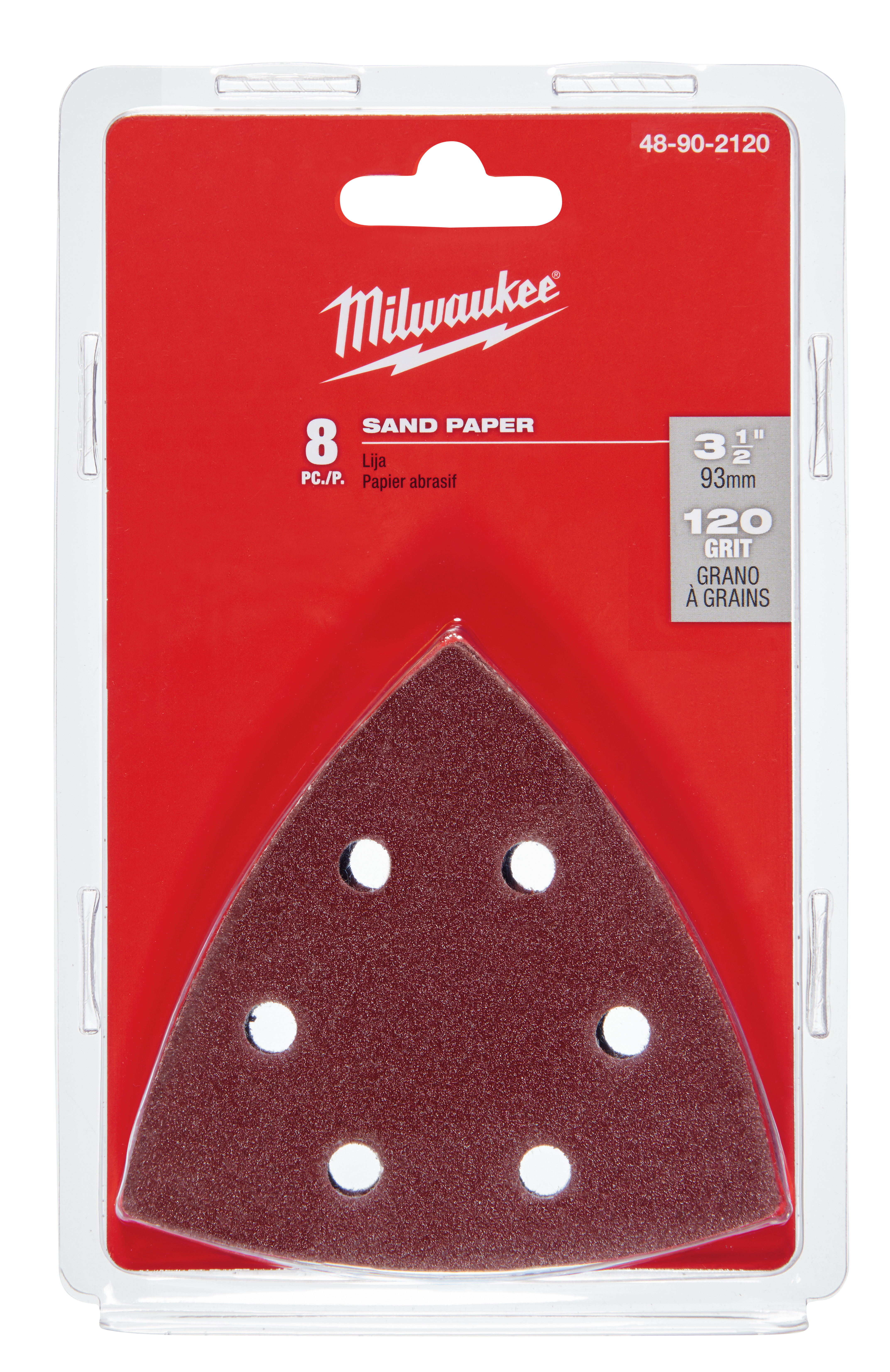 Milwaukee® M18™ 48-90-2120 Multi-Tool Sand Paper, For Use With M18™ 48-90-2000 Sanding Pad, 3-1/2 in L x 3-1/2 in W, 120 Grit, Sandpaper