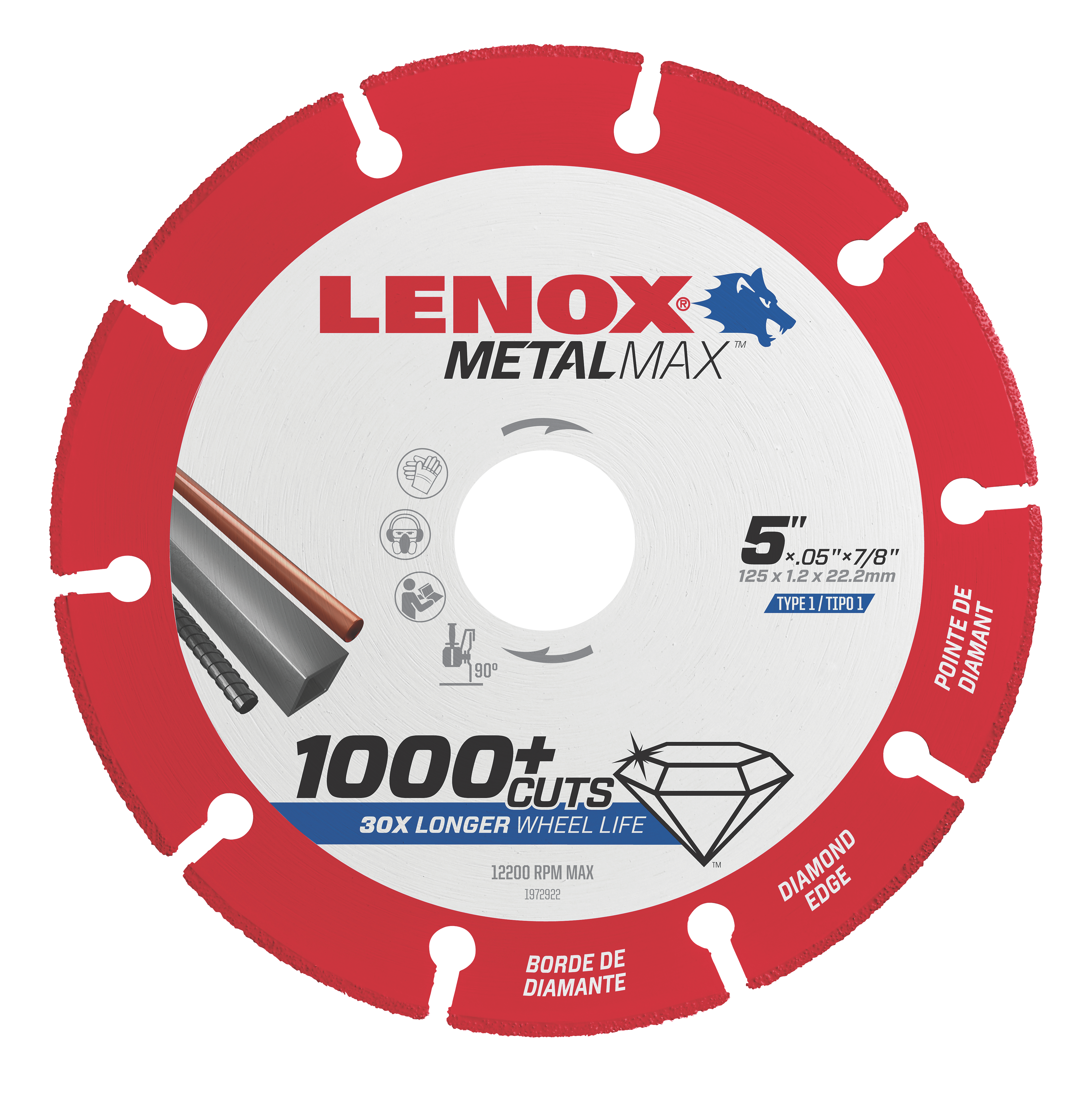 LENOX® TOOLS METALMAX™ 1972922 METALMAX™ Type 1 Cut-Off Wheel, 5 in Dia x 0.05 in THK, 7/8 in Center Hole, 40/50 Grit, Diamond Abrasive