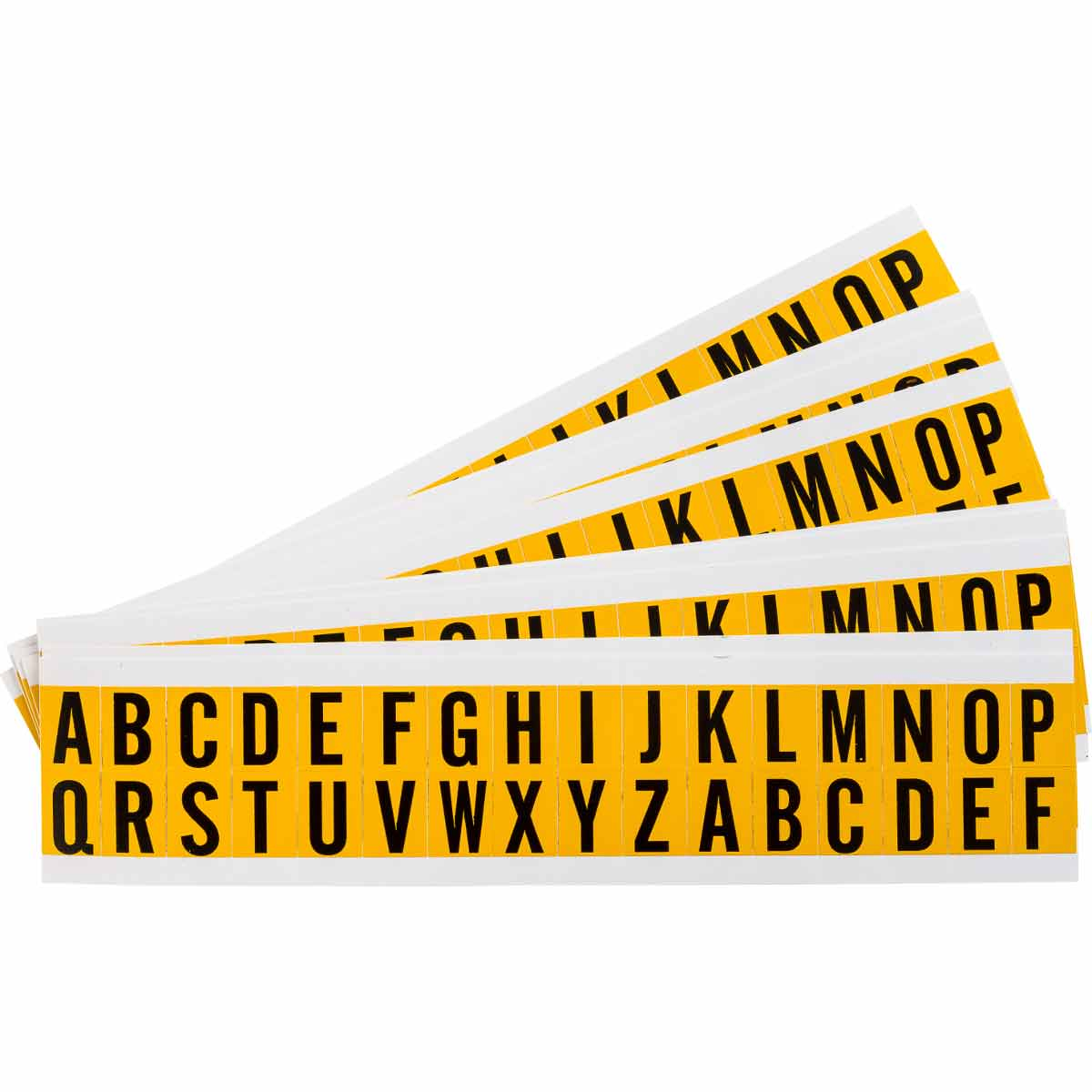 Brady® 97600 1520 Consecutive Non-Reflective Standard Letter Label Kit, Black A to Z Character, 5/8 in H x 0.466 in W, Yellow Background, B-946 Vinyl