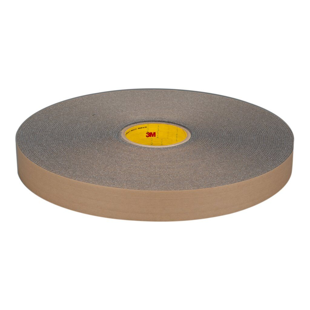 3M™ 4318 Single Coated Open Cell Foam Tape, 36 yd L x 1 in W, 125 mil THK, Acrylic Adhesive, Urethane Foam Backing, Charcoal Gray