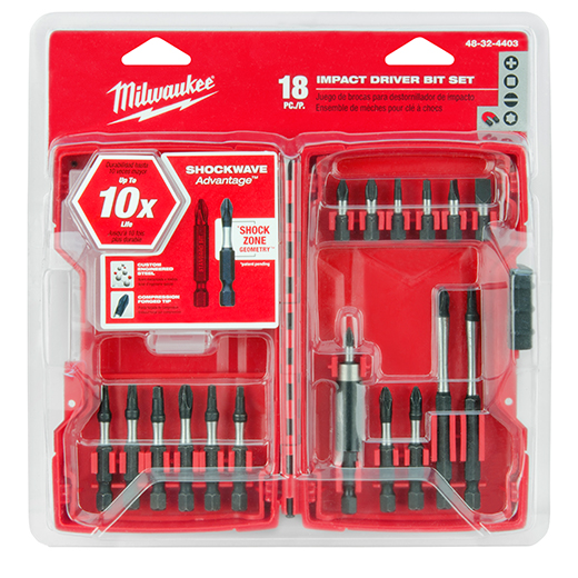 Milwaukee® SHOCKWAVE™ 48-32-4403 18-Piece Driver Bit Set, #1, #2, #3, 3/16 IN, T15, T20 Phillips®/Slotted/Square/Torx® Point, 1 in, 2 in, 3-1/2 in OAL, 1/4 in, Steel