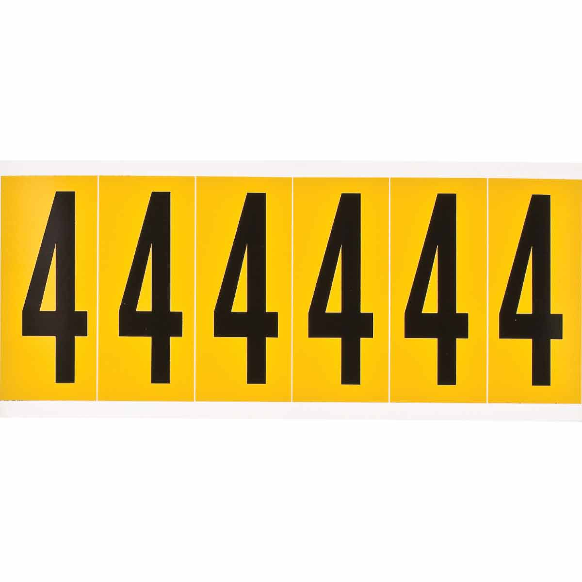 Brady® 1550-4 Non-Reflective Standard Number Label, 2.938 in H Black 4 Character, Yellow Background, B-946 Vinyl